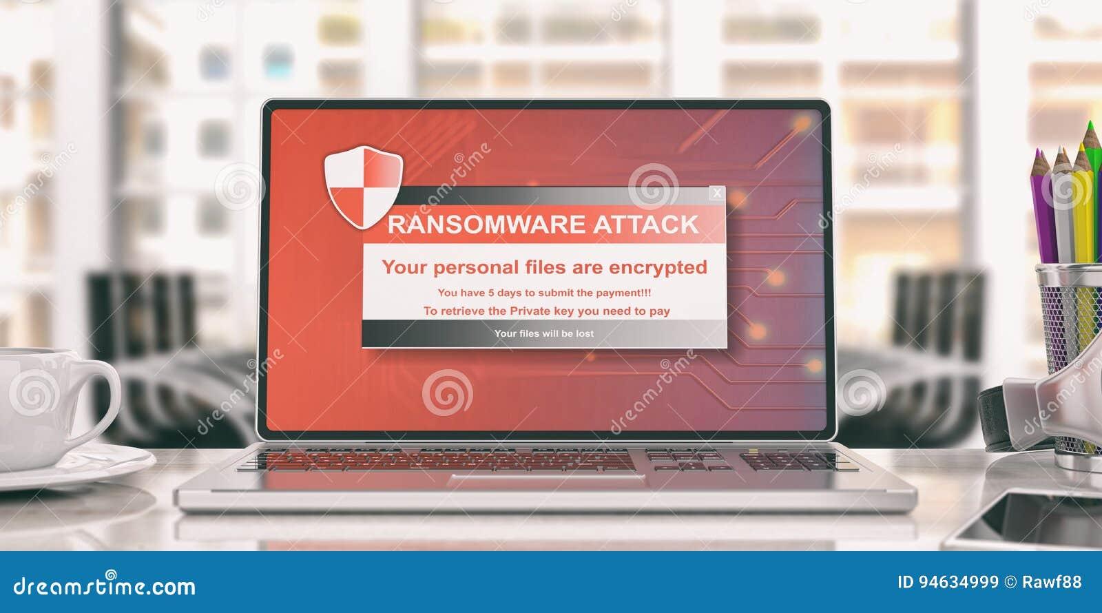 Alerte de Ransomware sur un écran d ordinateur portable illustration 3D