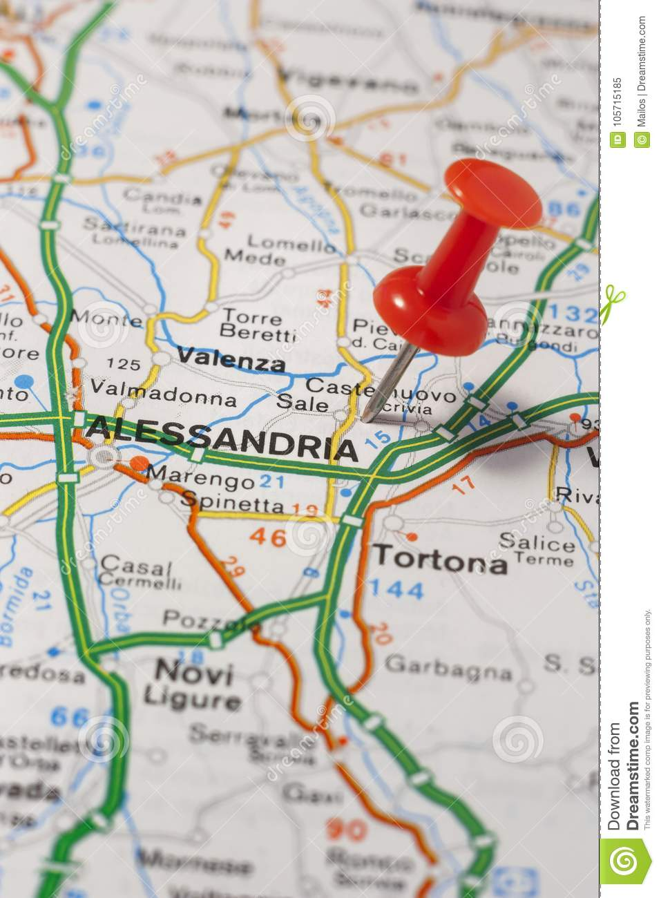 Alessandria Italy Map.Alessandria Pinned On A Map Of Italy Stock Image Image Of Close