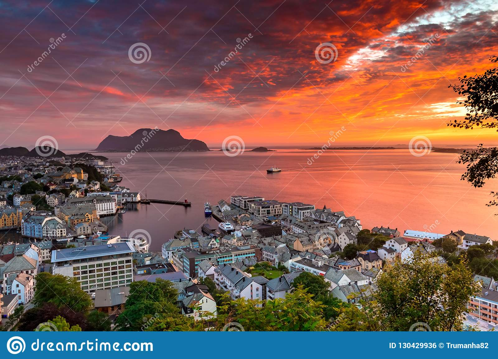 City Seascape with Aerial View of Alesund Center, Islands and Atlantic Ocean at Gorgeous Sunset