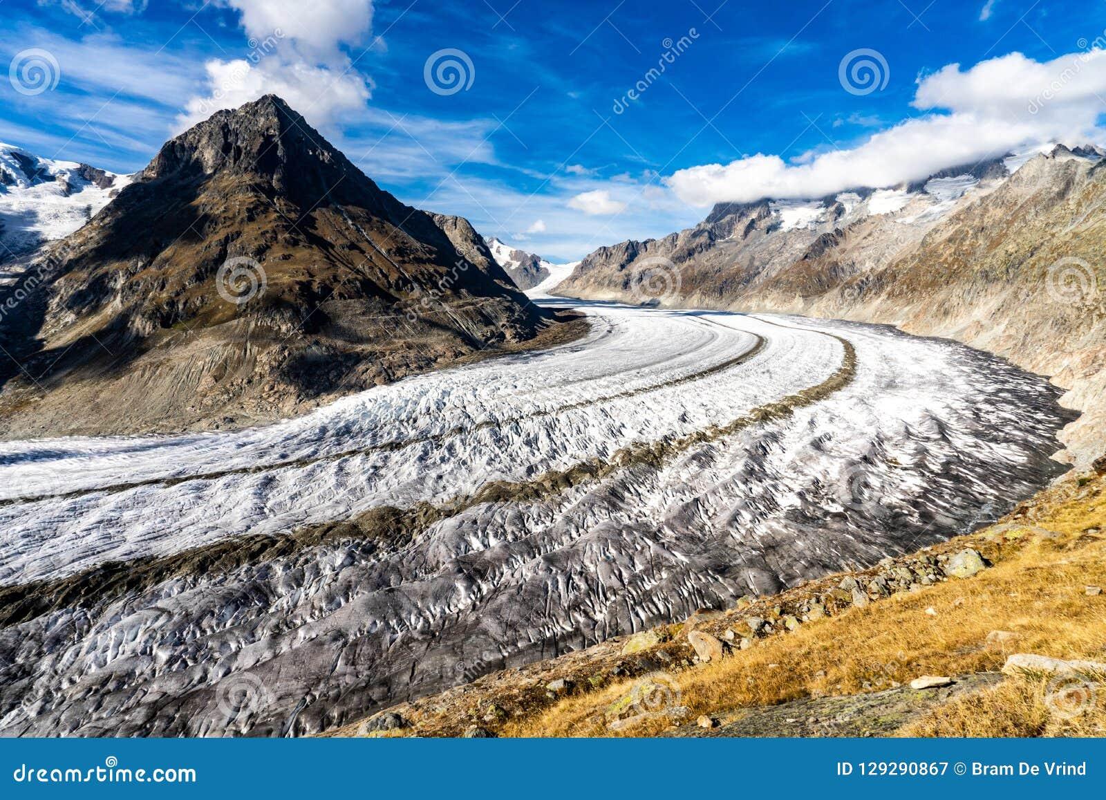 Aletschgletsjer in de Alpen in Zwitserland