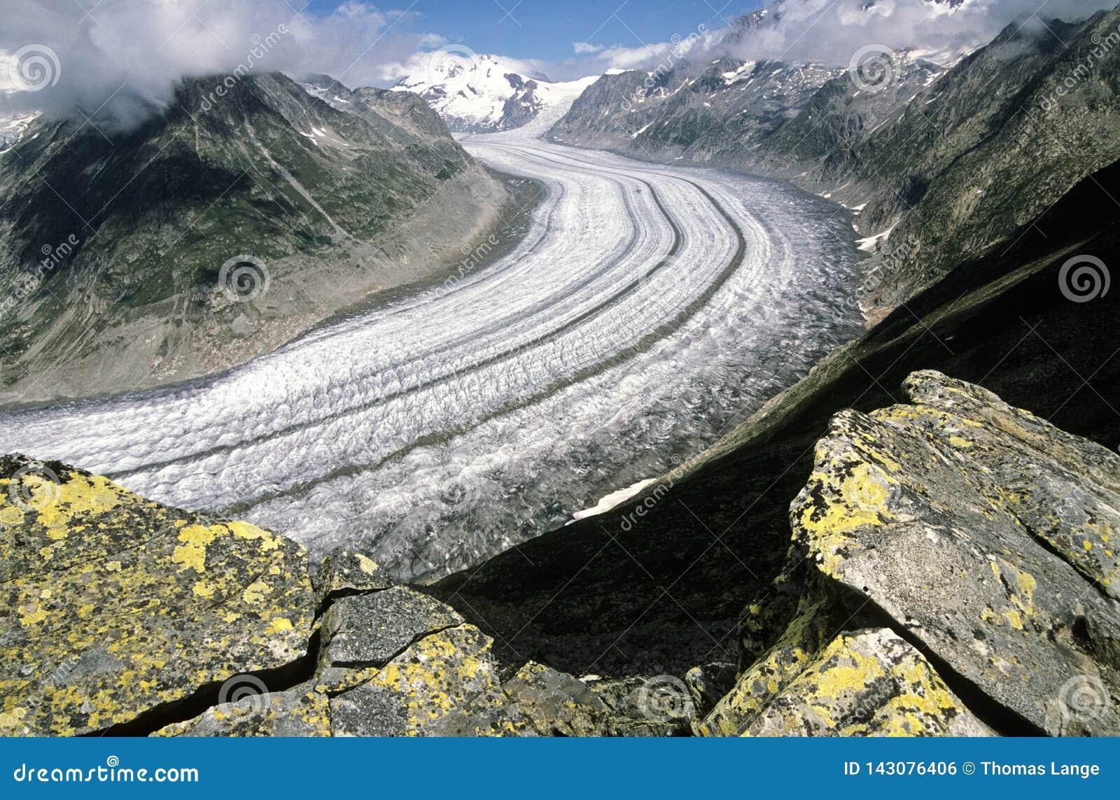 Aletschgletsjer, de grootste gletsjer in de Alpen, Swizerland