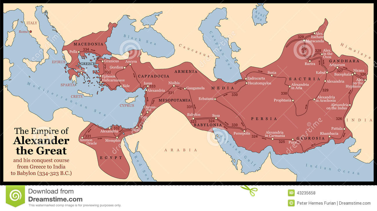 The Empire of Alexander the Great an his conquest course from Greece ...