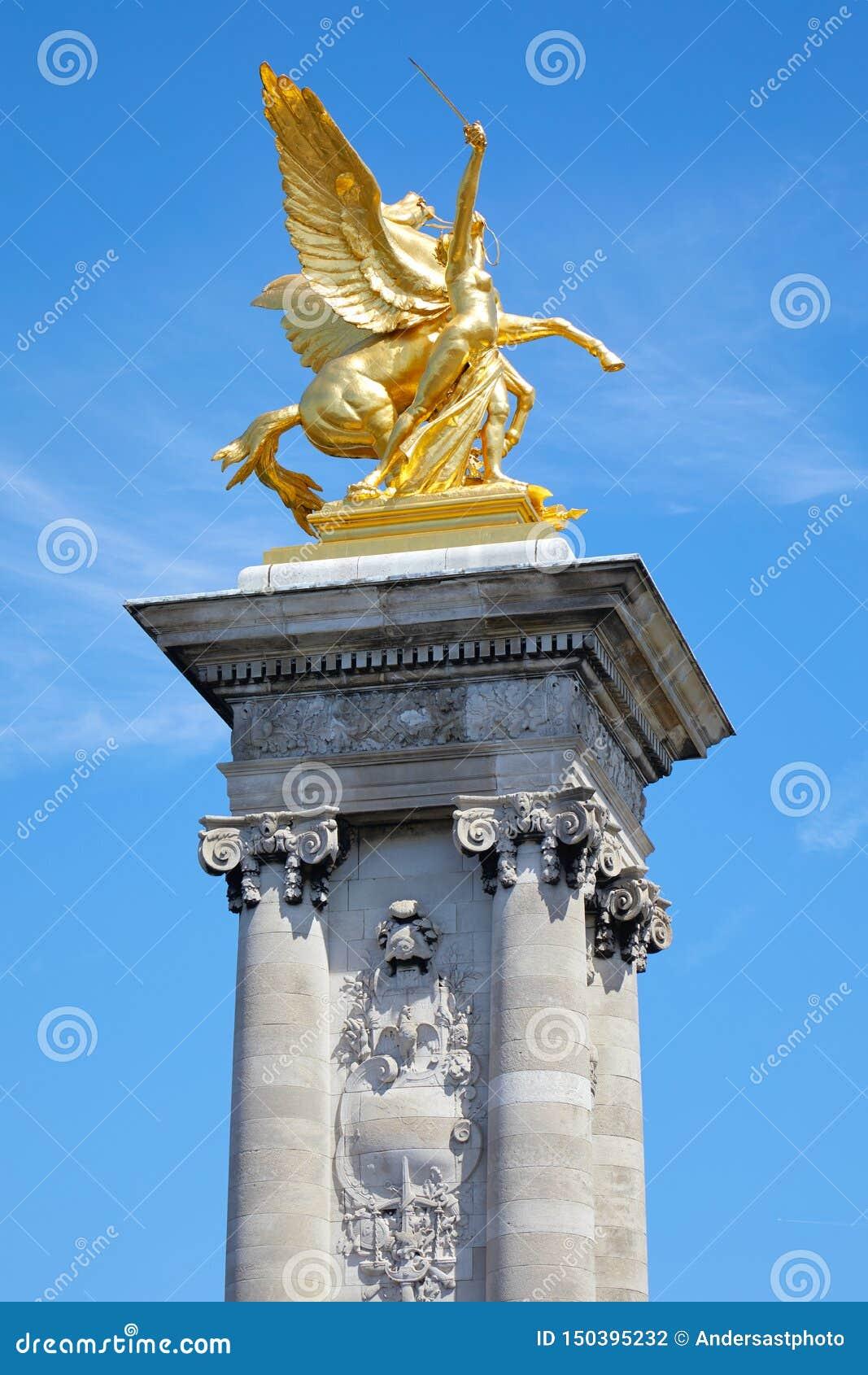 Paris, Alexandre III Bridge Golden Statue With Winged