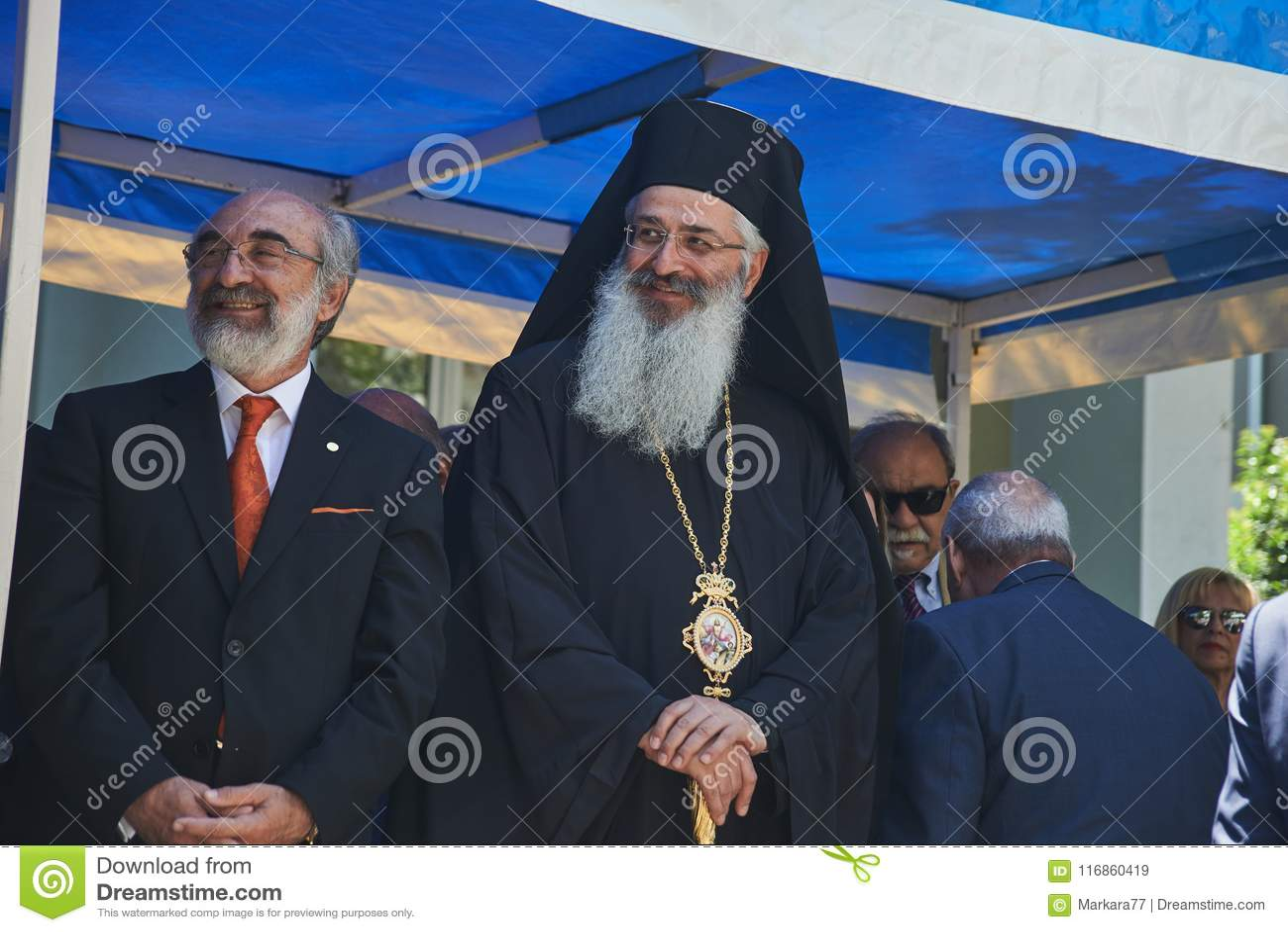 ALEXANDROUPOLI GREECE-MAY 14, 2018: Biskop Anthimos av Alexandr