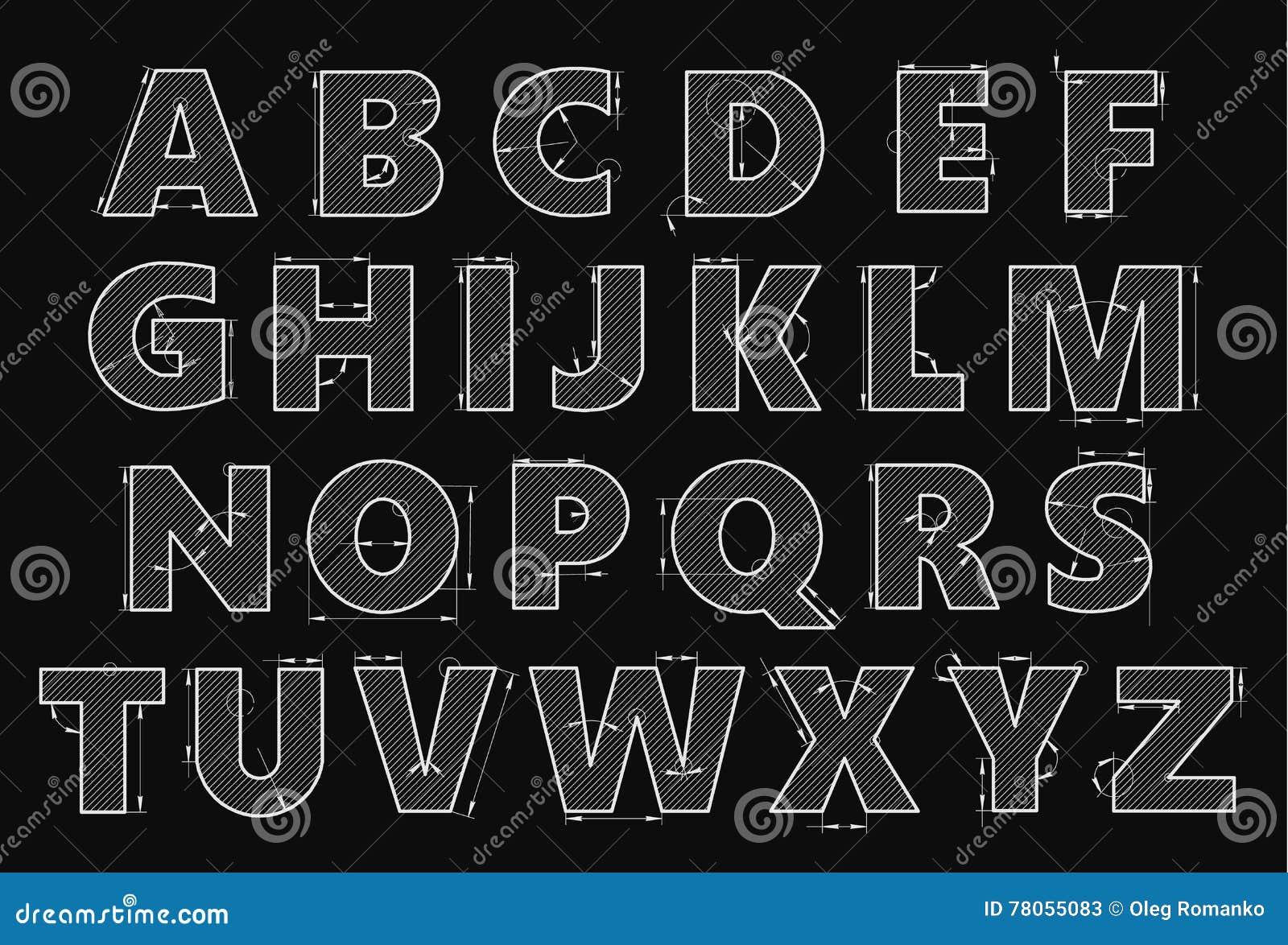 Alfabet i stil av en teknisk teckning