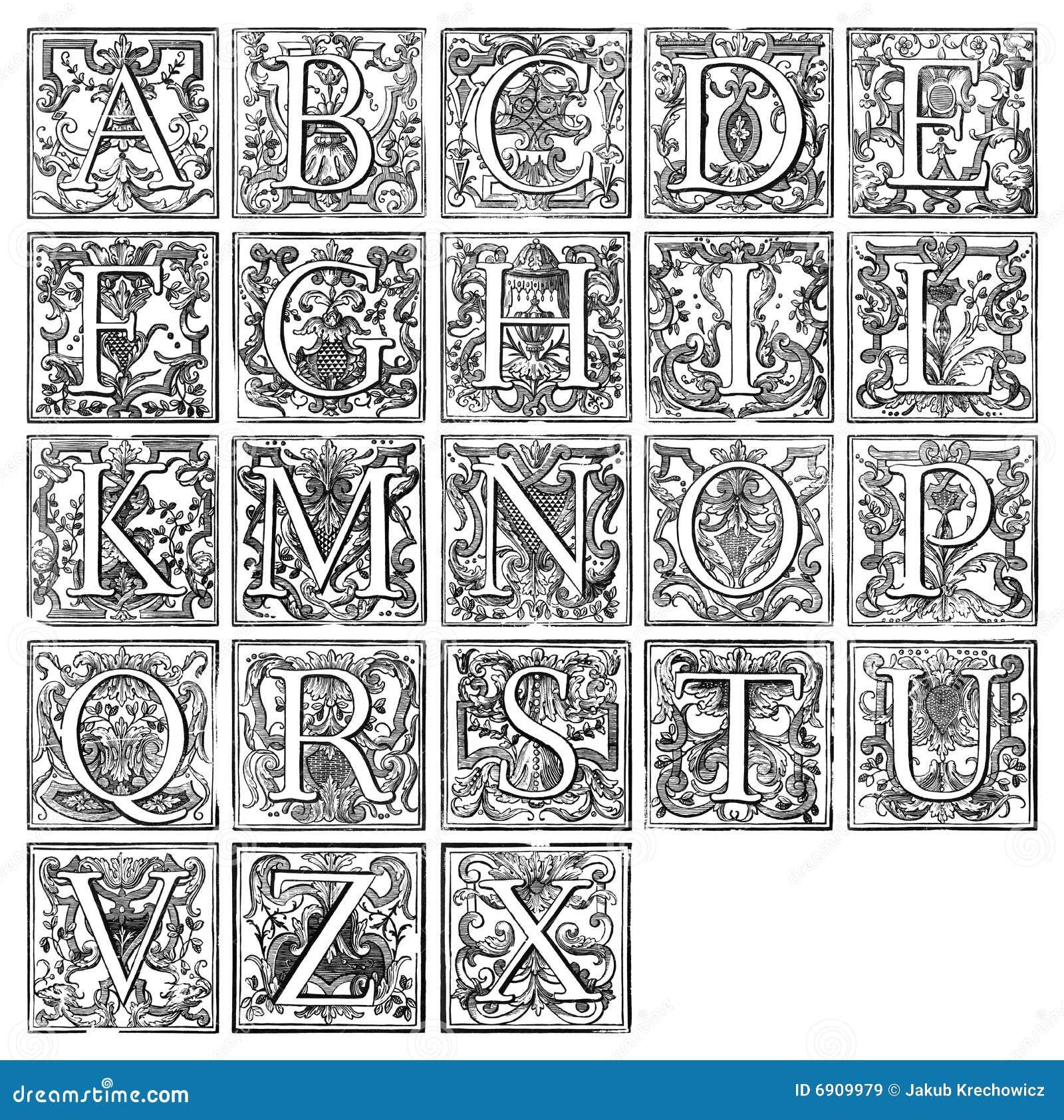 Alfabet van 16de eeuw stock illustratie