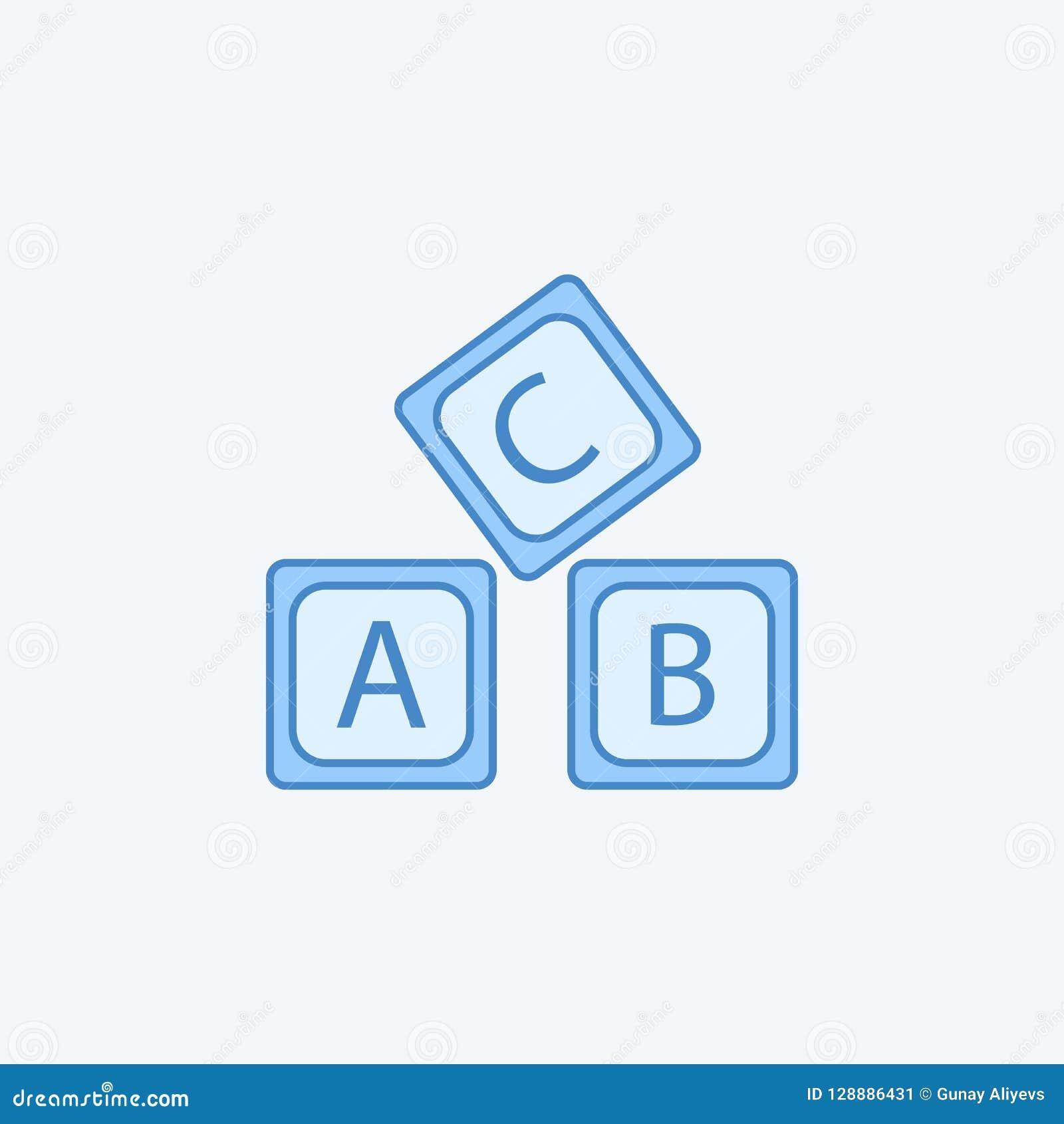 Alfabet 2 van het brievena B C embleem rassenbarrièrepictogram Eenvoudige donkere en lichtblauwe elementenillustratie het alfabet