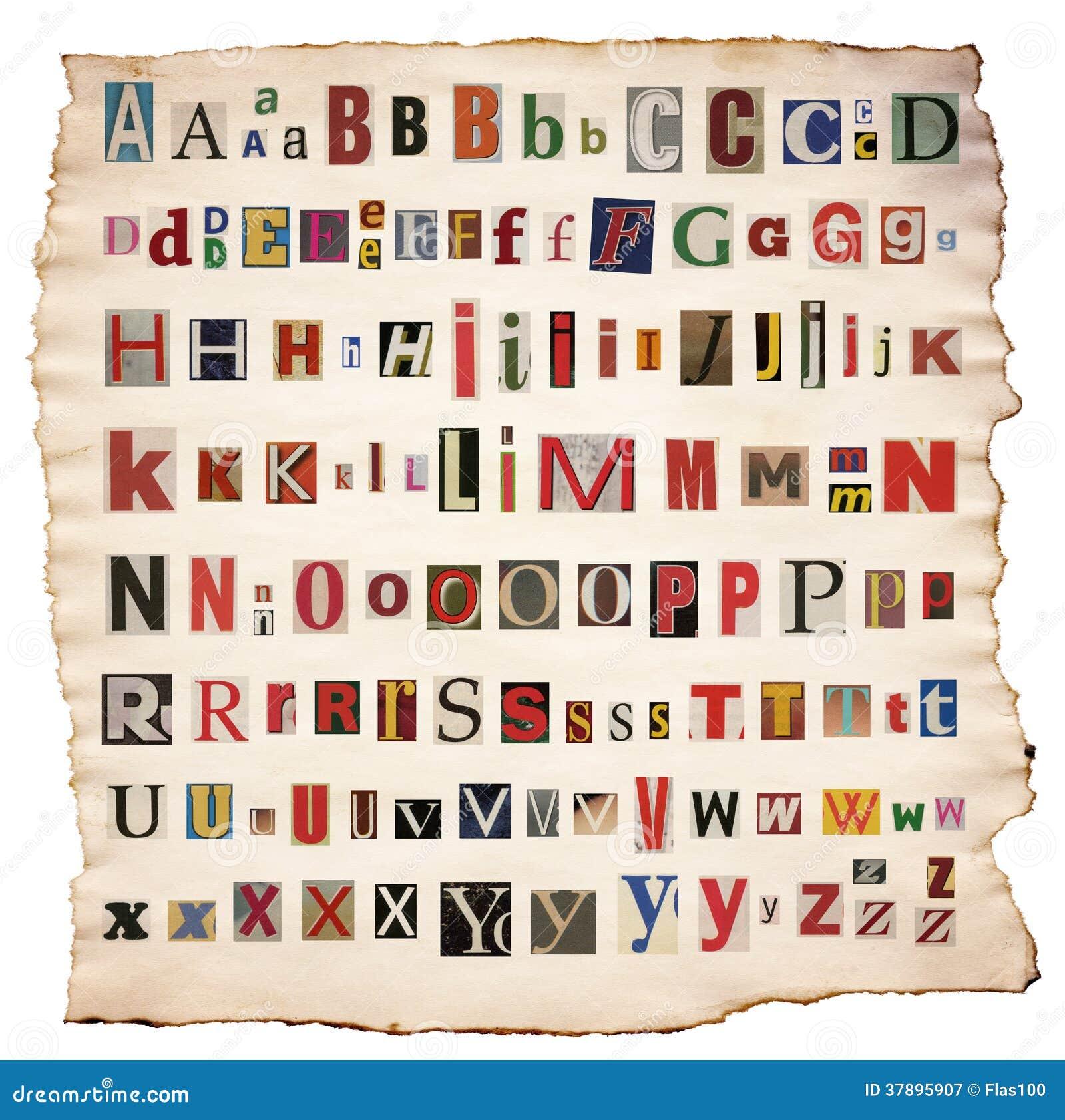 Alfabetbrieven van krant, tijdschrift worden gemaakt dat