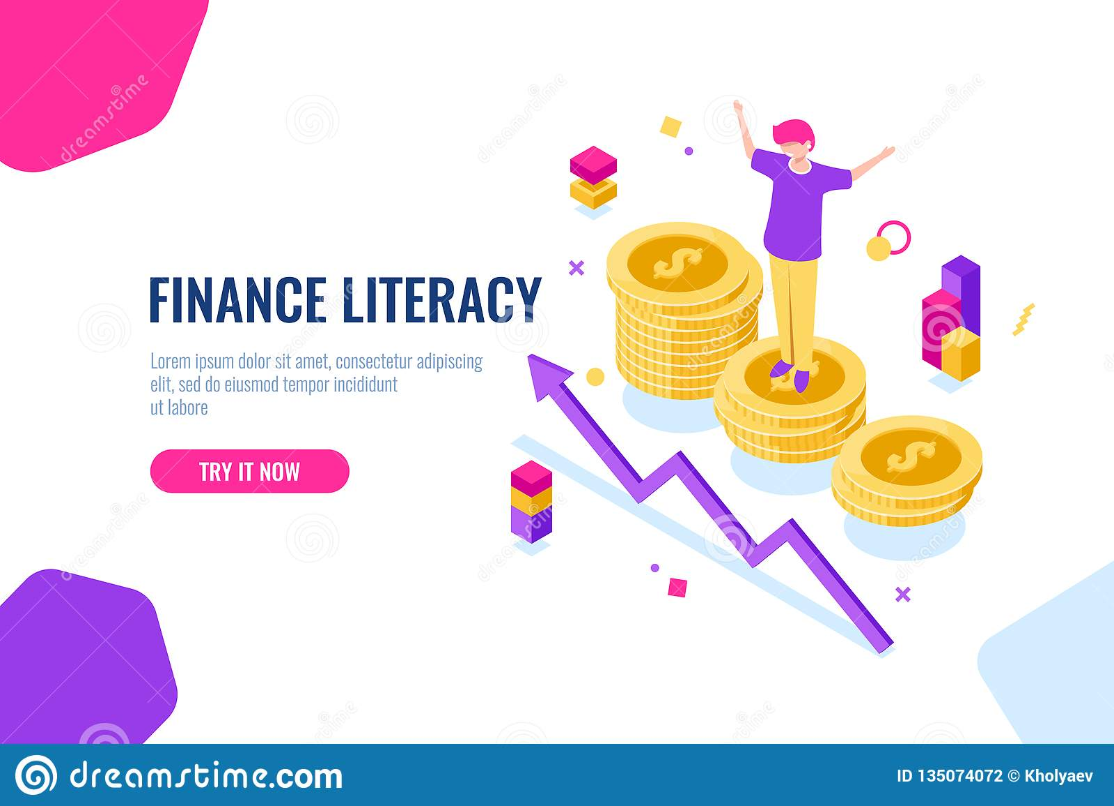 Alfabetizzazione finanziaria isometrica, contabilità di soldi, illustrazione economica con la donna che sta sul podio, strategia