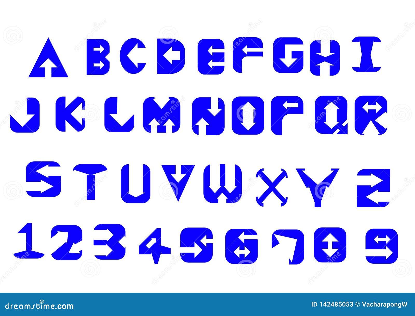 Alfabetletters en getallen in het concept van de pijlstijl