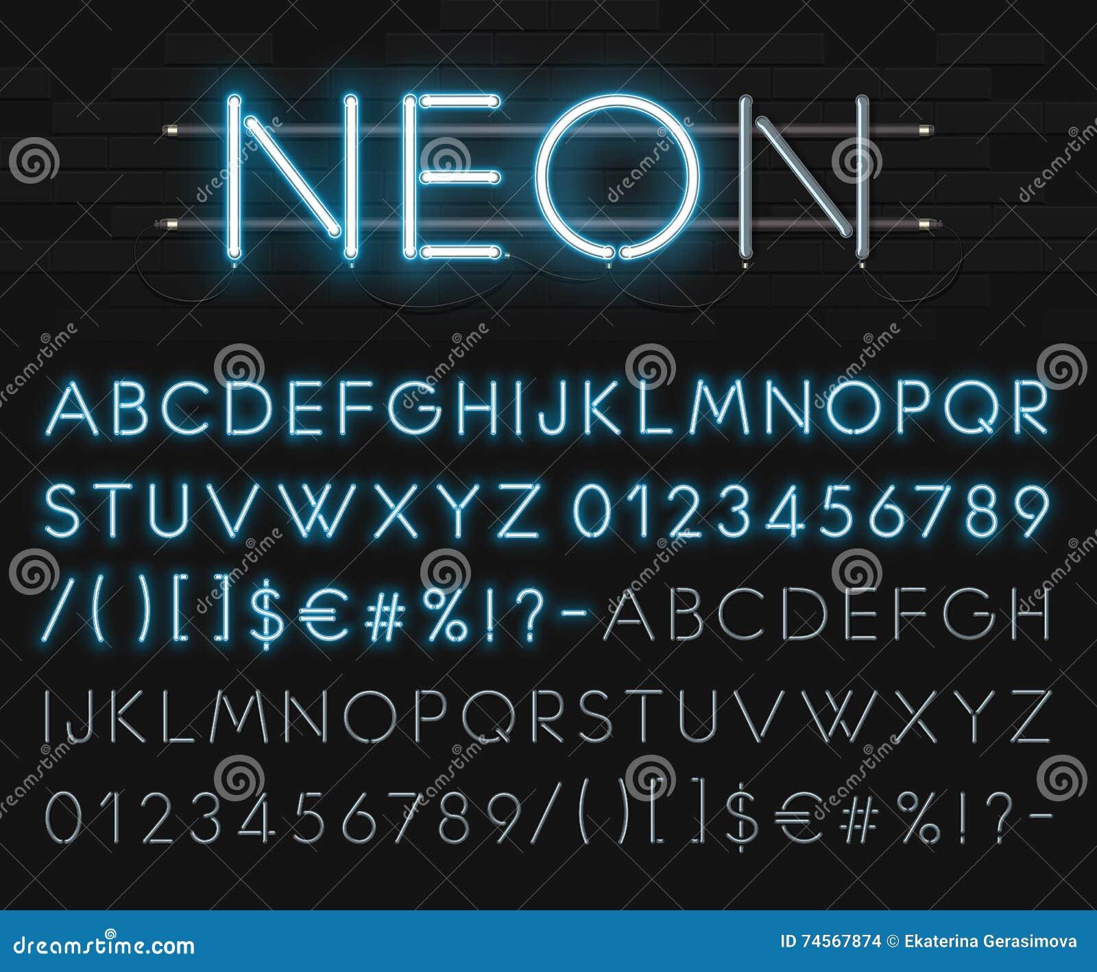 Alfabeto al neon realistico su un fondo del muro di mattoni nero Fonte d ardore blu Formato di vettore