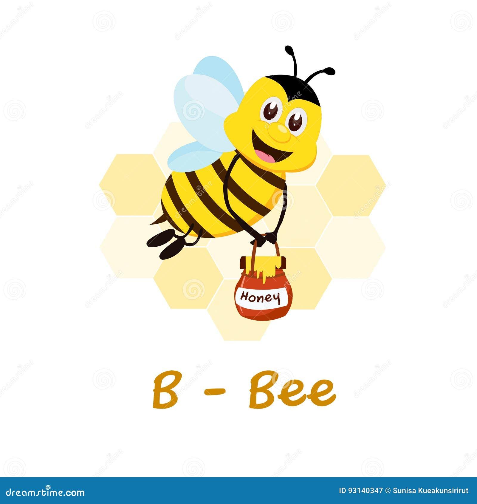 Alfabeto Animale Isolato Per I Bambini B Per Lape Illustrazione