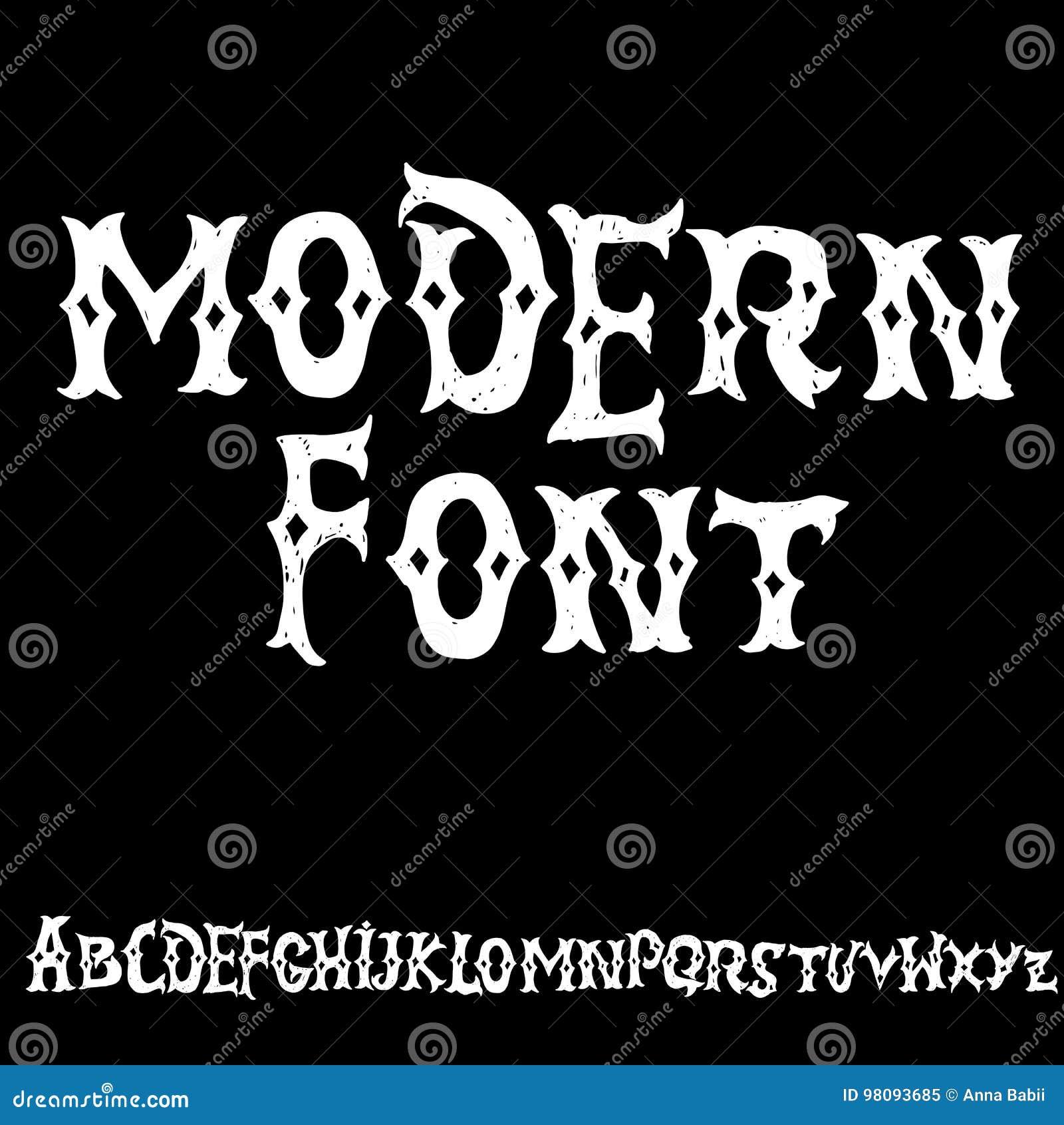 Alfabeto Antiguo Letras Góticas Fuente Dibujada Mano Del Vintage ...