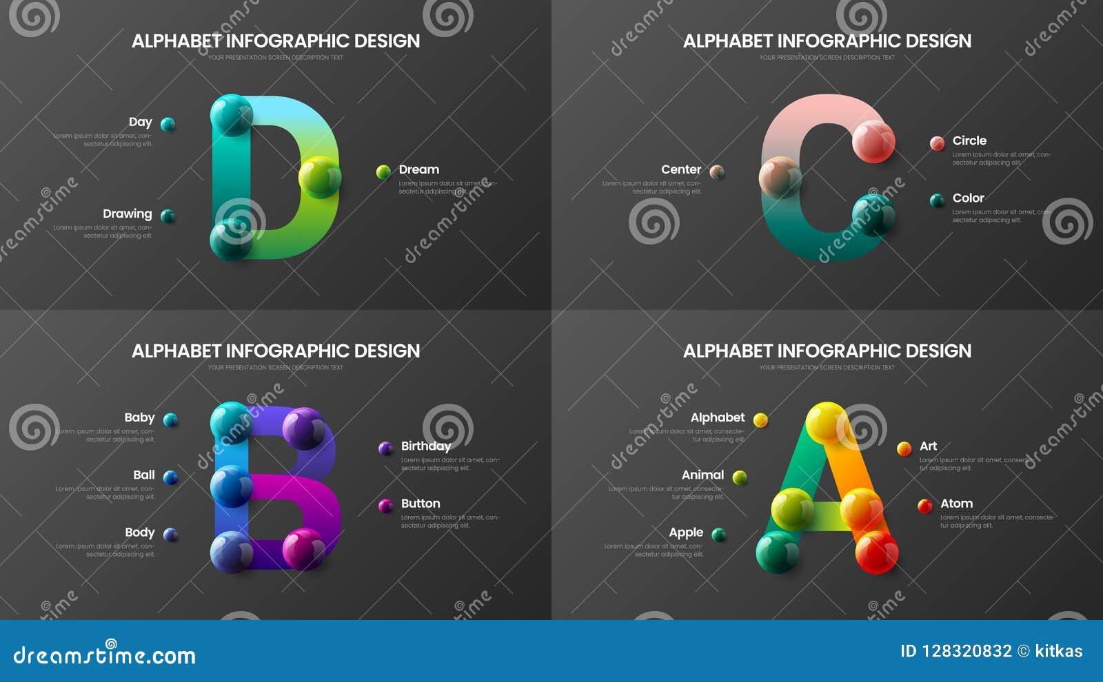 Alfabeto asombroso A, B, C, paquete colorido realista infographic del vector de la presentación de las bolas 3D del símbolo de D