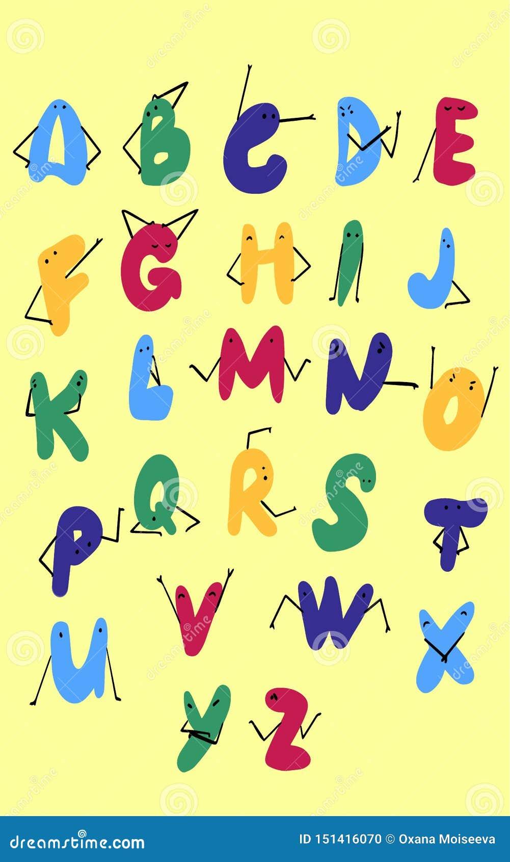 Alfabeto bonito da garatuja Fonte criançola da cor de DIY