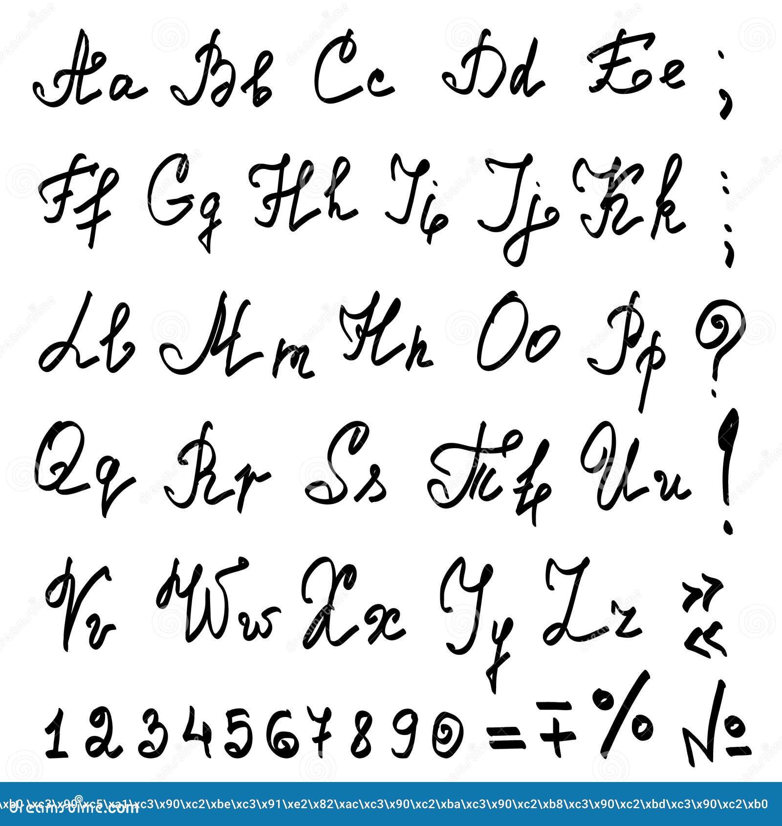 Alfabeto Calligrafico Della Mano Reale Di Vettore