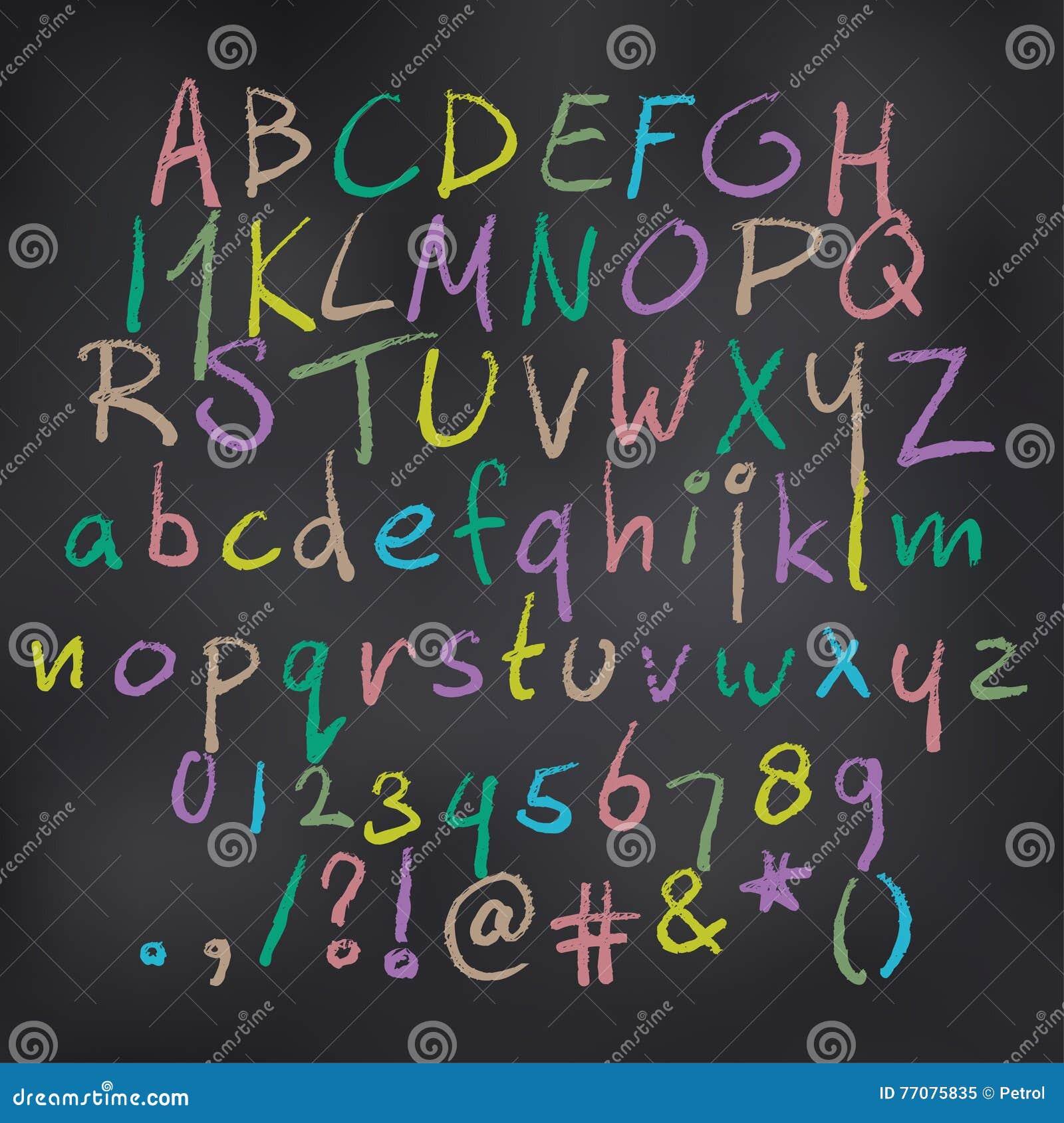 Alfabeto colorato vettore in gesso