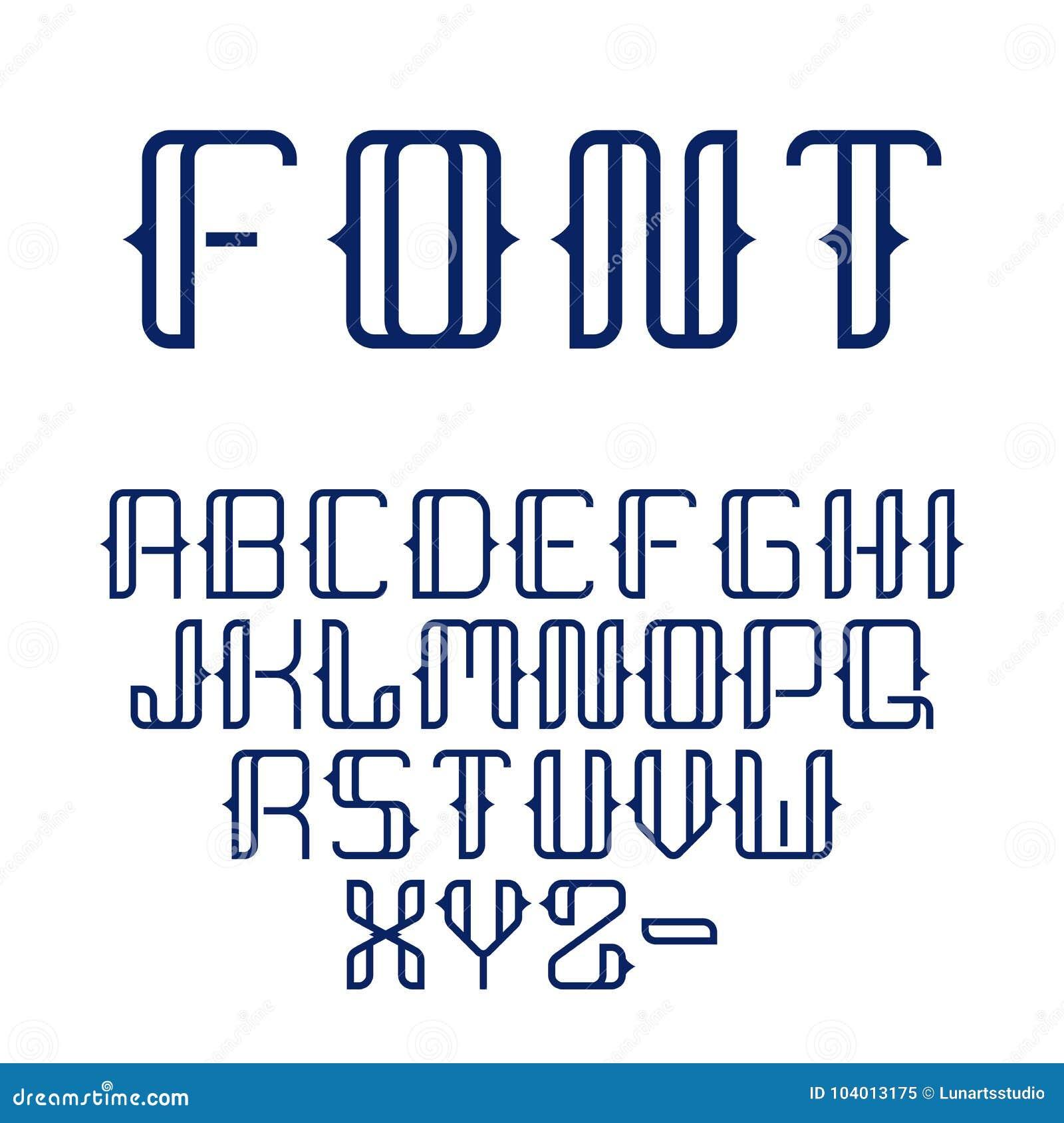 Alfabeto completo determinado del vector del extracto de la colección hermosa geométrica moderna de la fuente en la línea estilo
