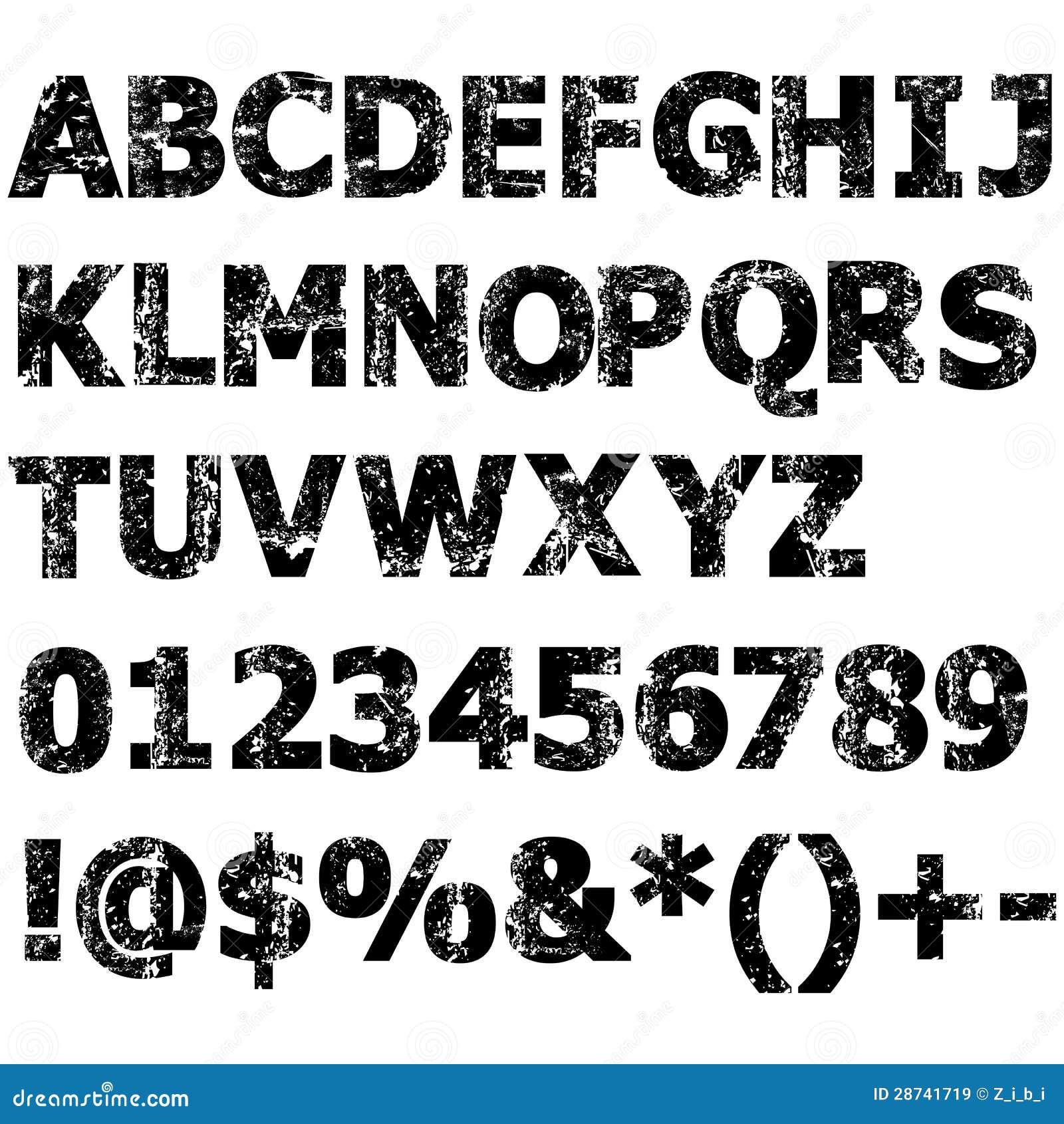 Alfabeto Completo Do Grunge Ilustração Do Vetor Ilustração De