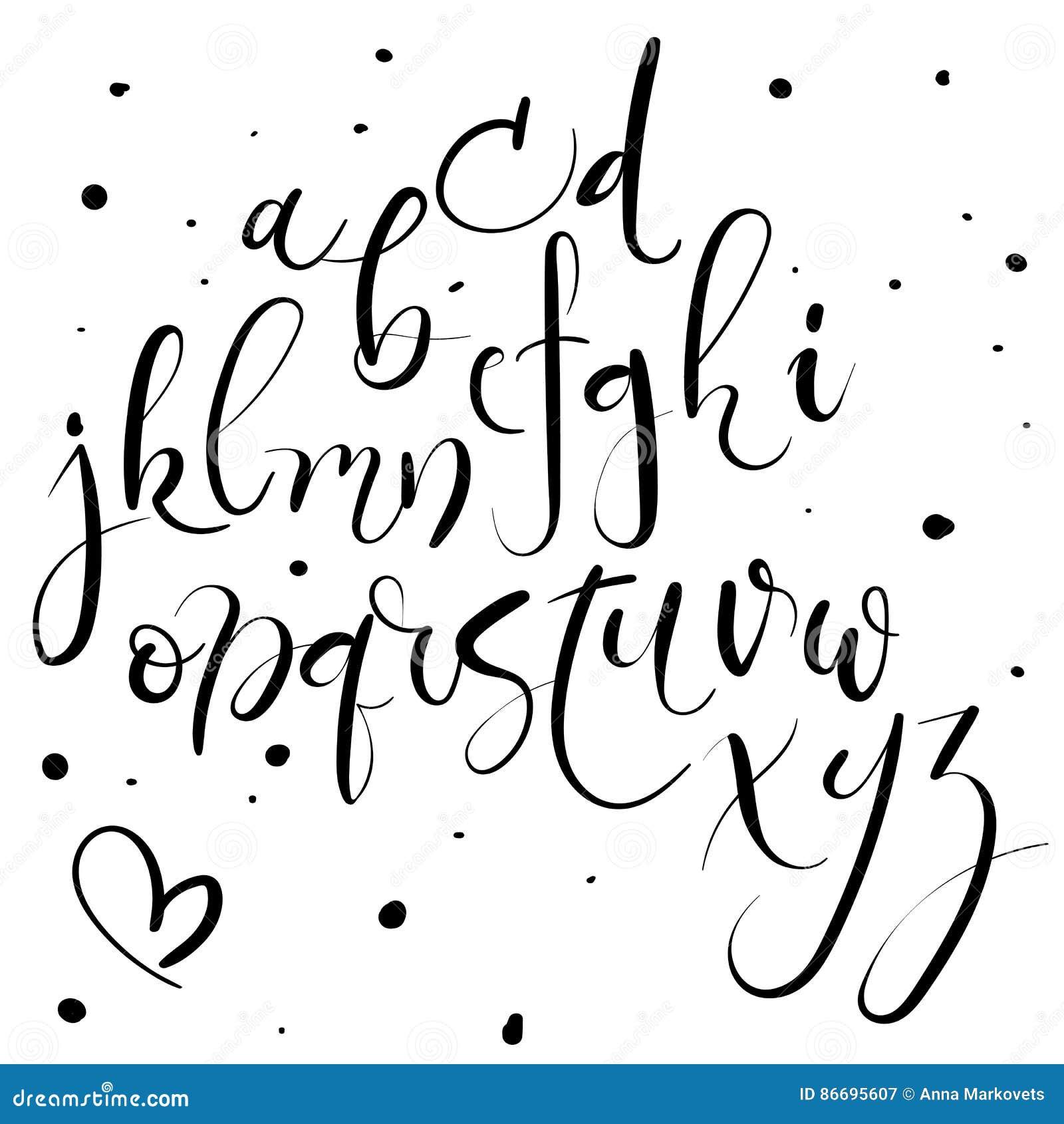 Alfabeto da rotulação da mão Letras desenhadas mão Fonte moderna da caligrafia Vetor