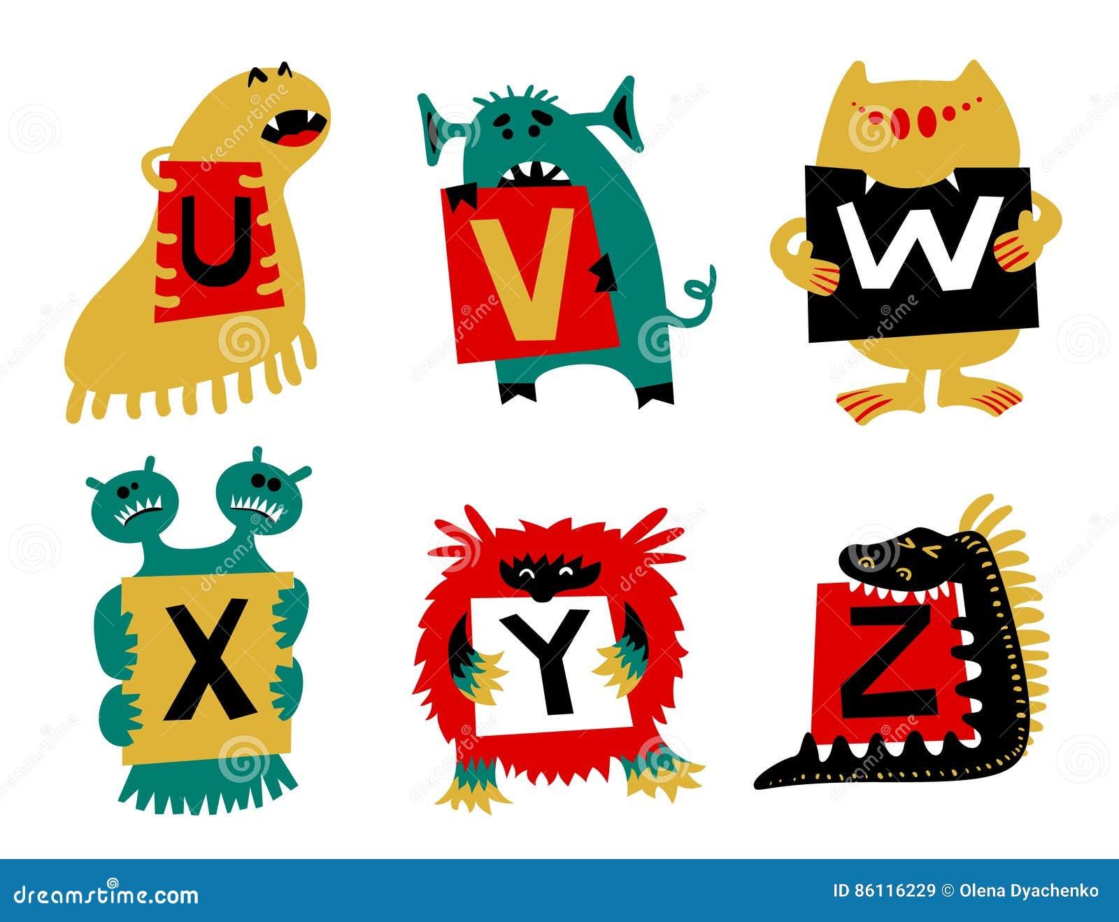 Alfabeto das crianças com os monstro coloridos bonitos ou os insetos Fi engraçado