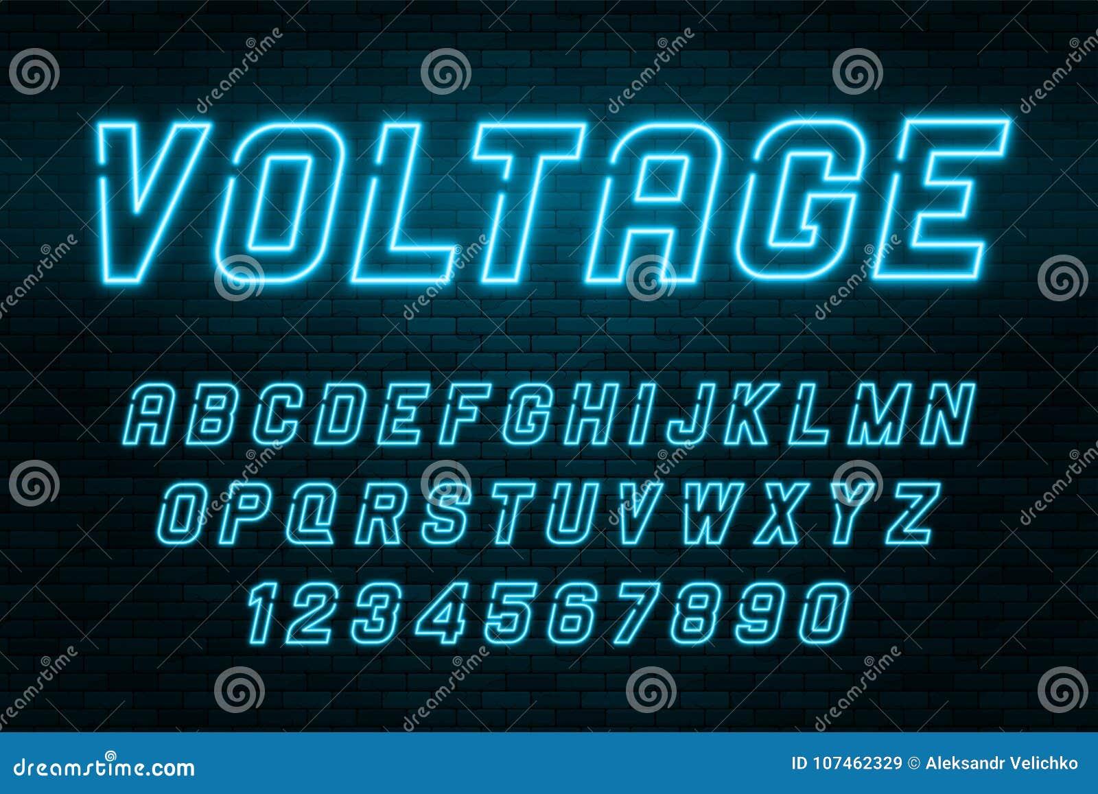 Alfabeto de la luz de neón del voltaje, fuente que brilla intensamente adicional realista