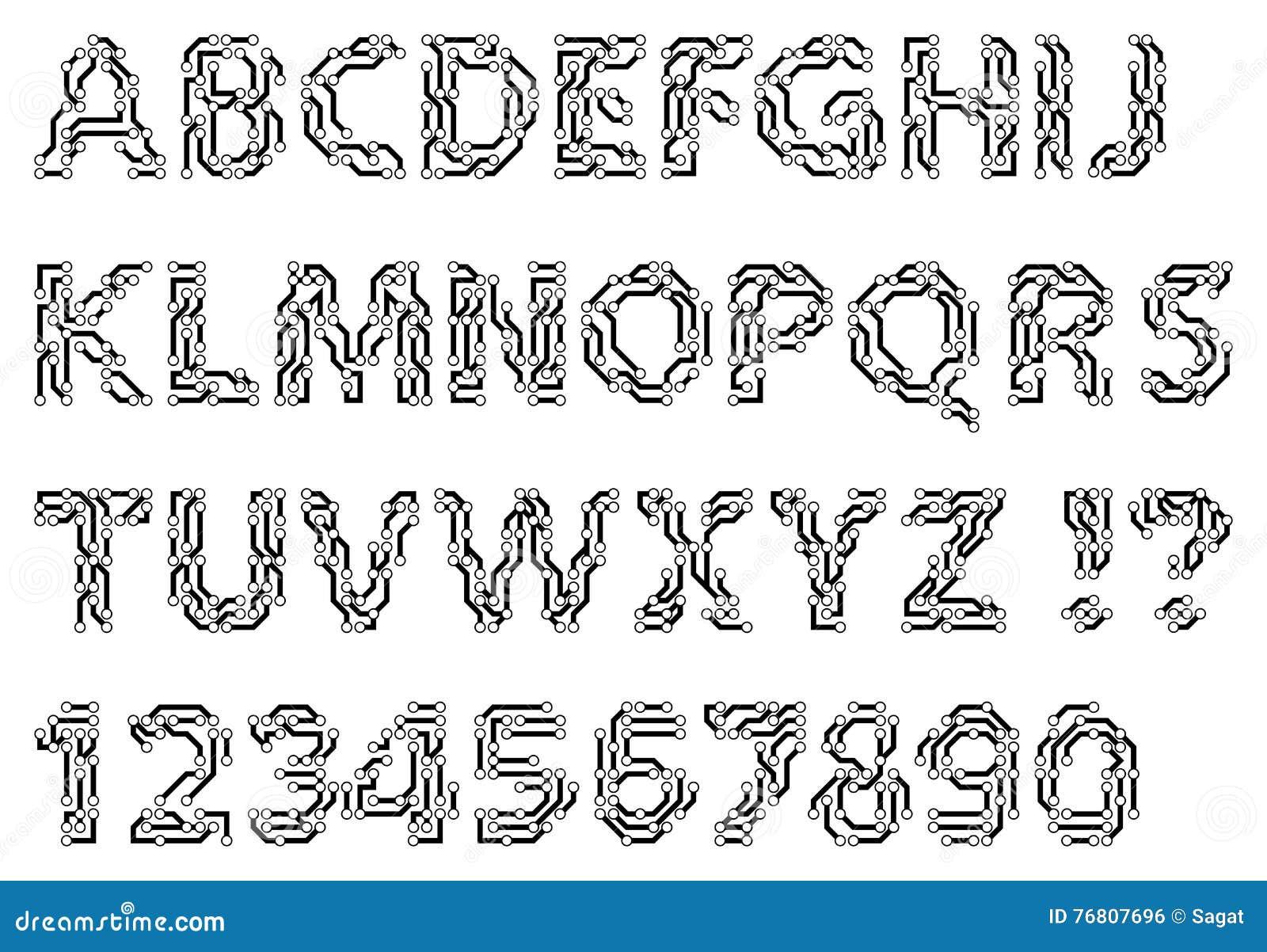 Alfabeto de las letras y de los dígitos de un estilo del circuito Mecanografiado de Techno