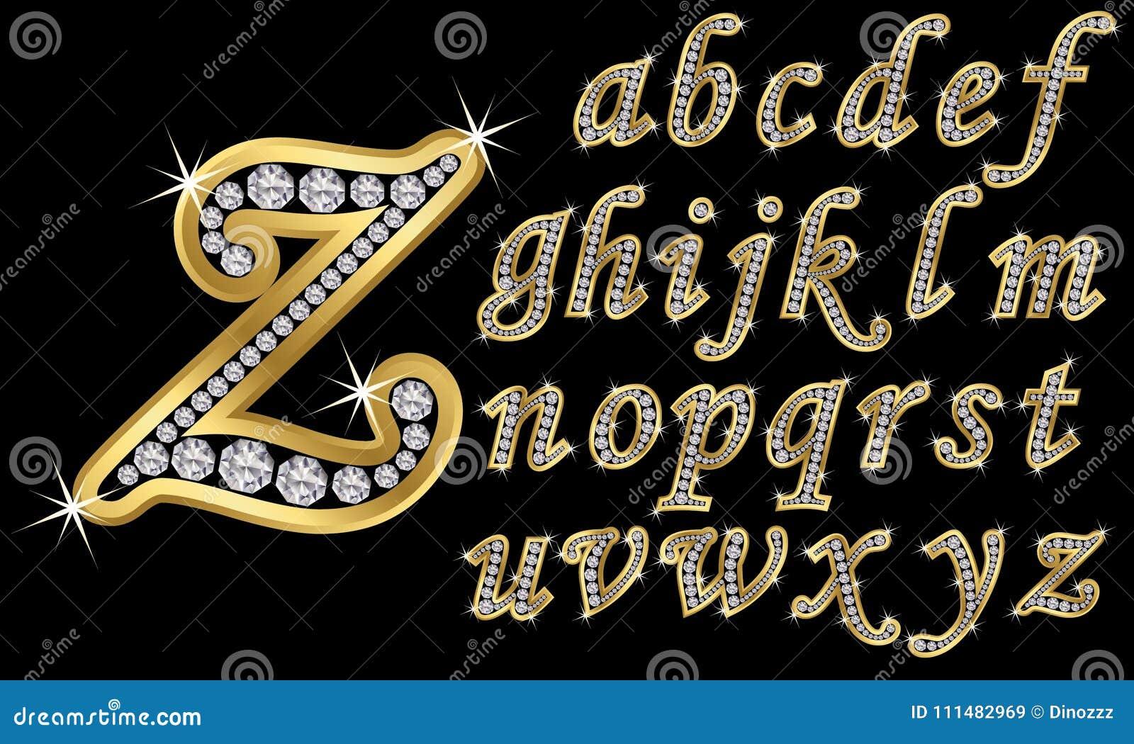 Alfabeto de oro con los diamantes, letras de A a Z