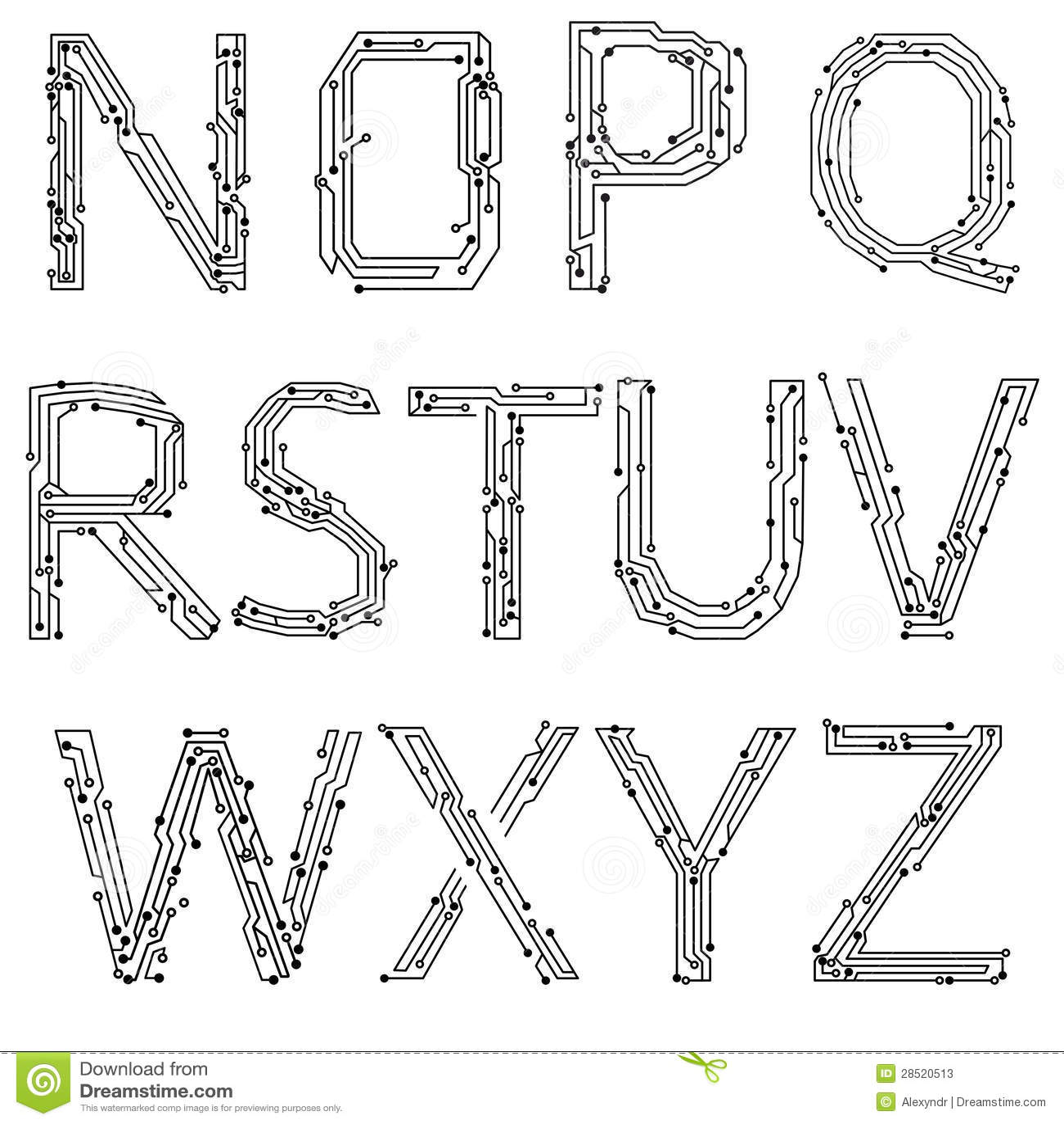Alfabeto de placas de circuito impresas