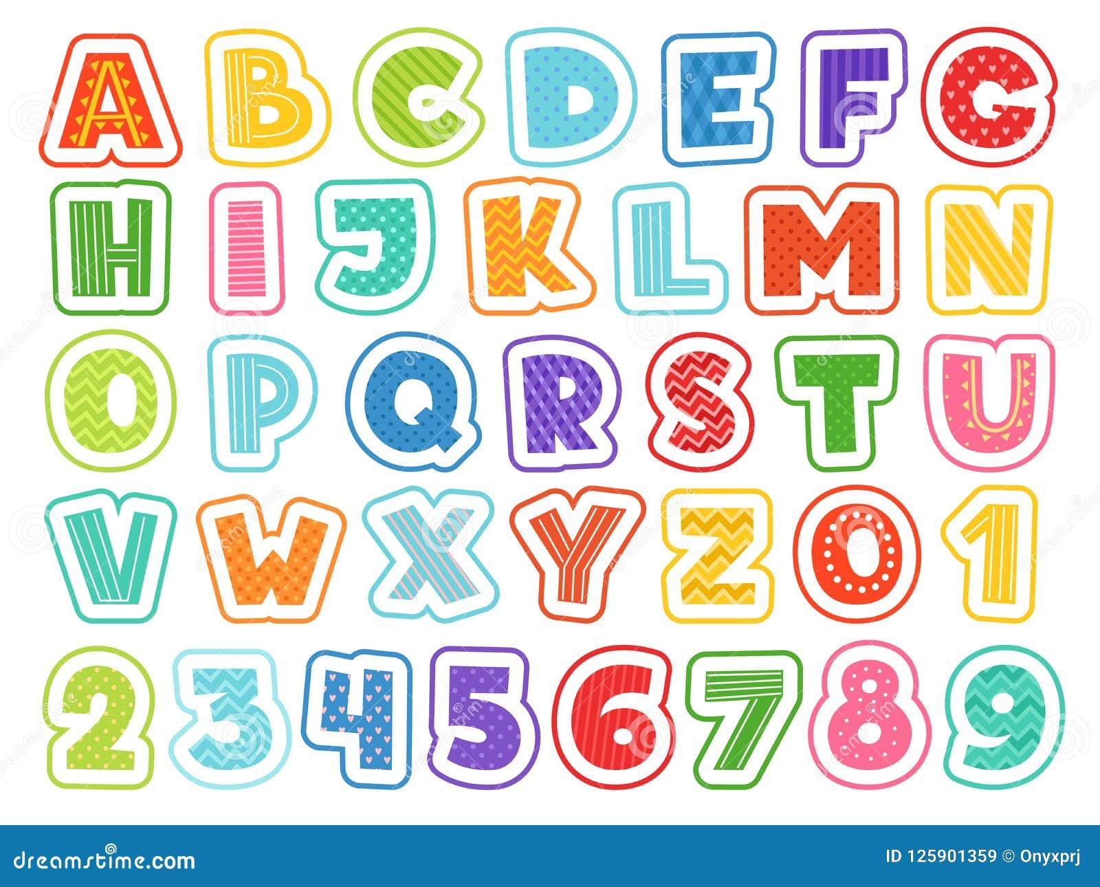 Alfabeto del fumetto Segni e simboli di numeri colorati svegli delle lettere per la fonte divertente di vettore dei bambini e dei