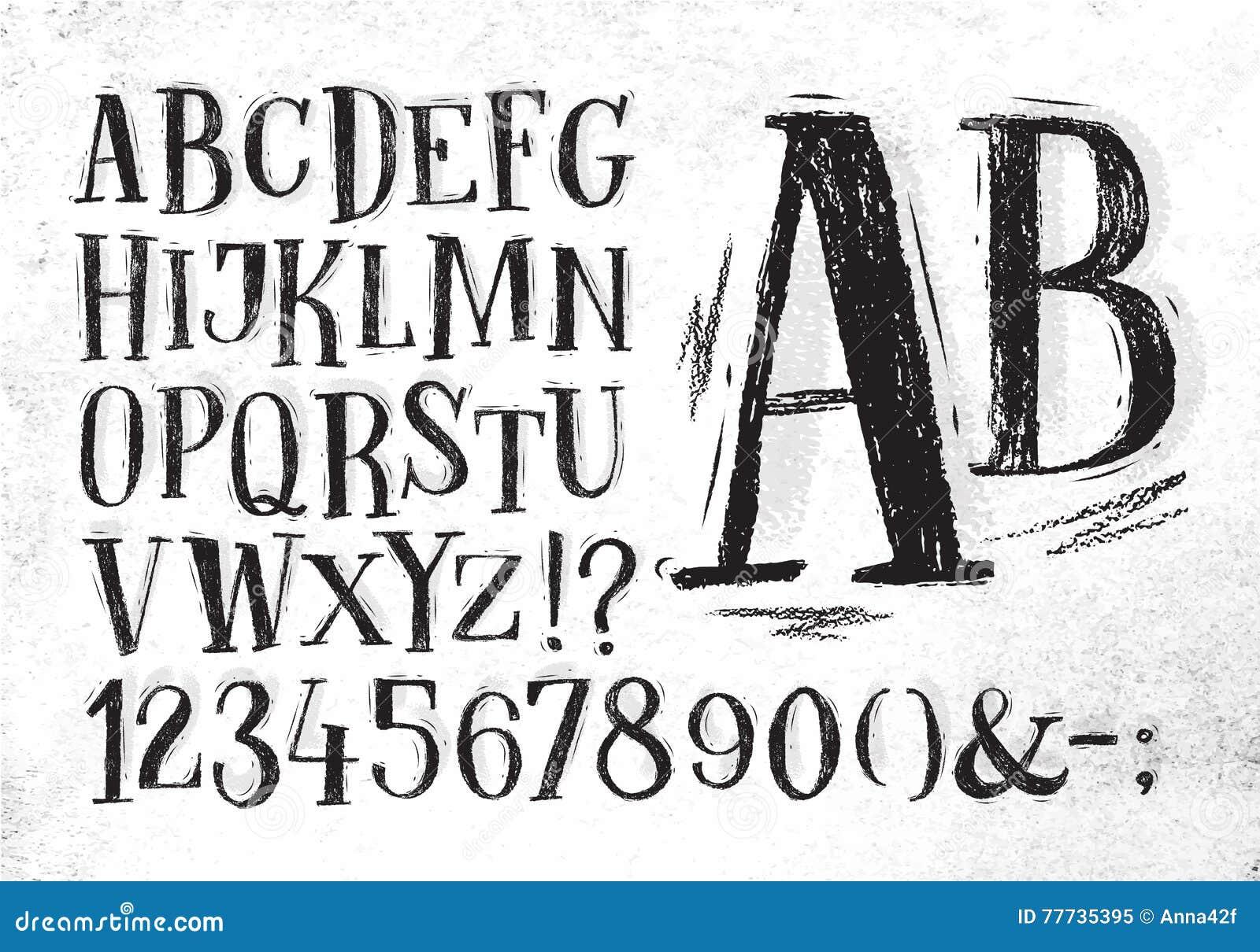 Alfabeto del negro de la fuente del lápiz