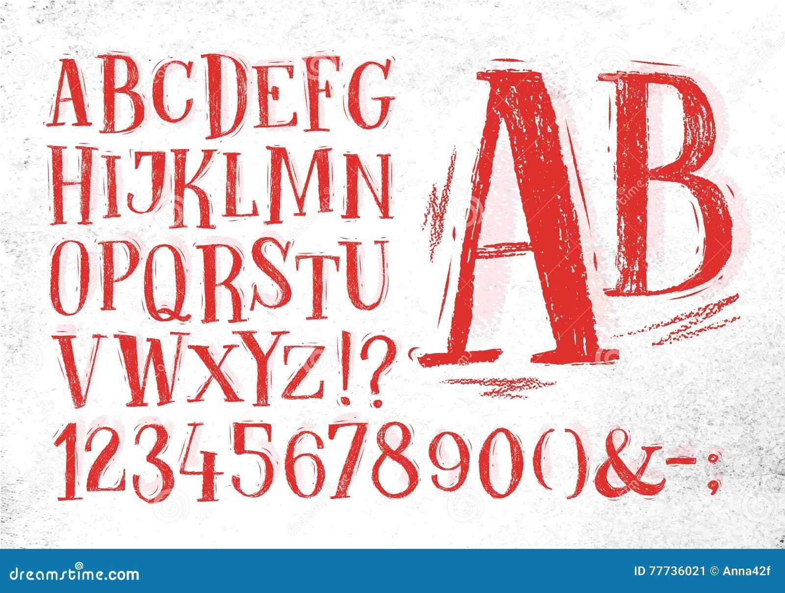 Alfabeto del rojo de la fuente del lápiz