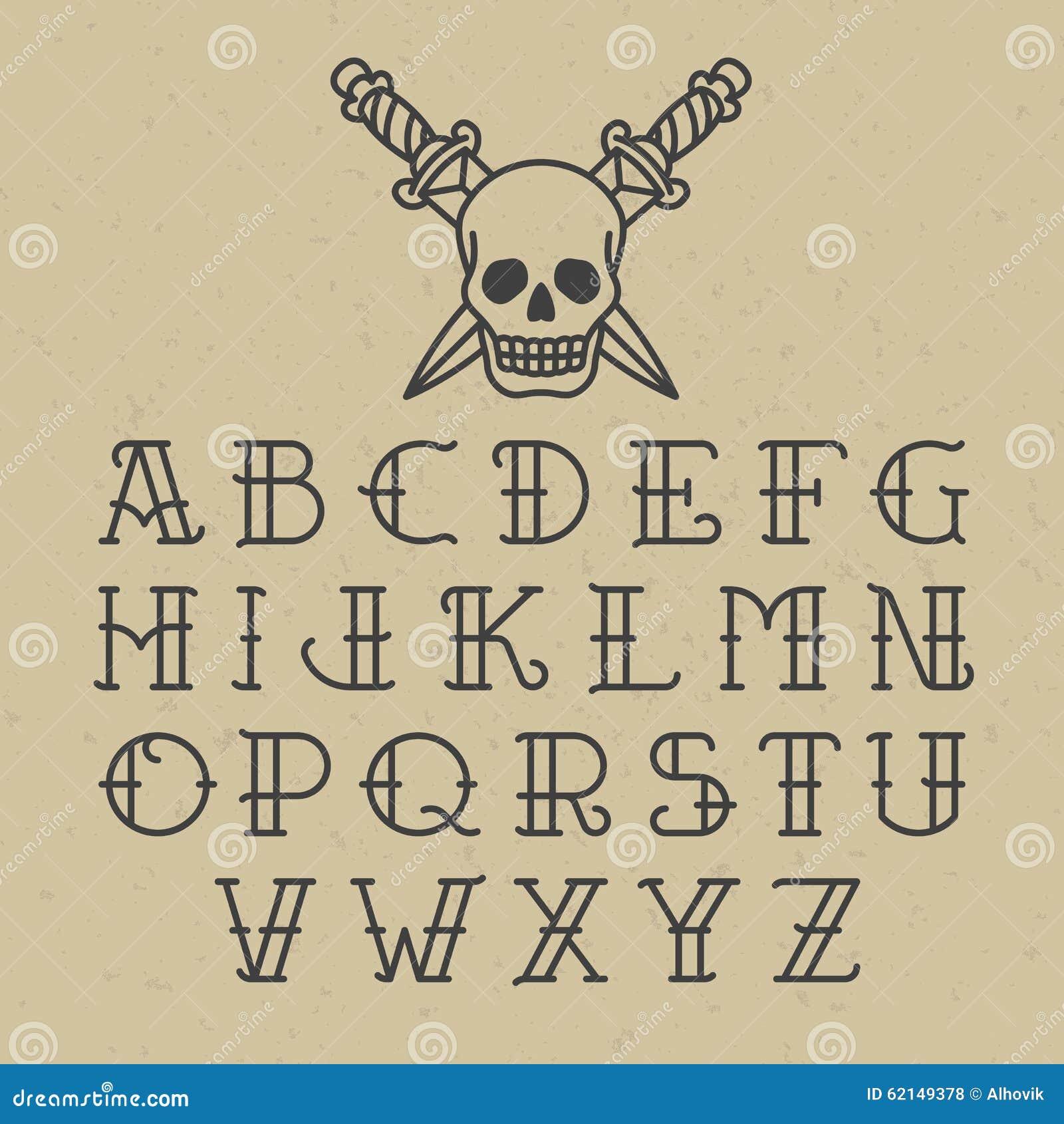 Alfabeto del tatuaje de la escuela vieja