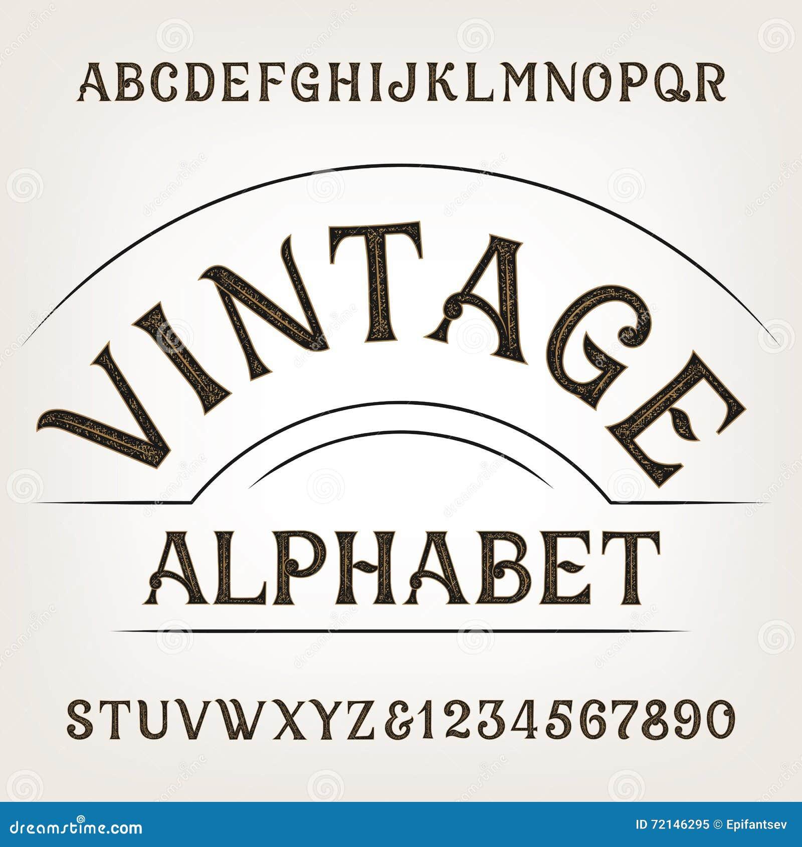 Alfabeto del vintage Fuente de vector apenada retra del alfabeto Letras y números dibujados mano
