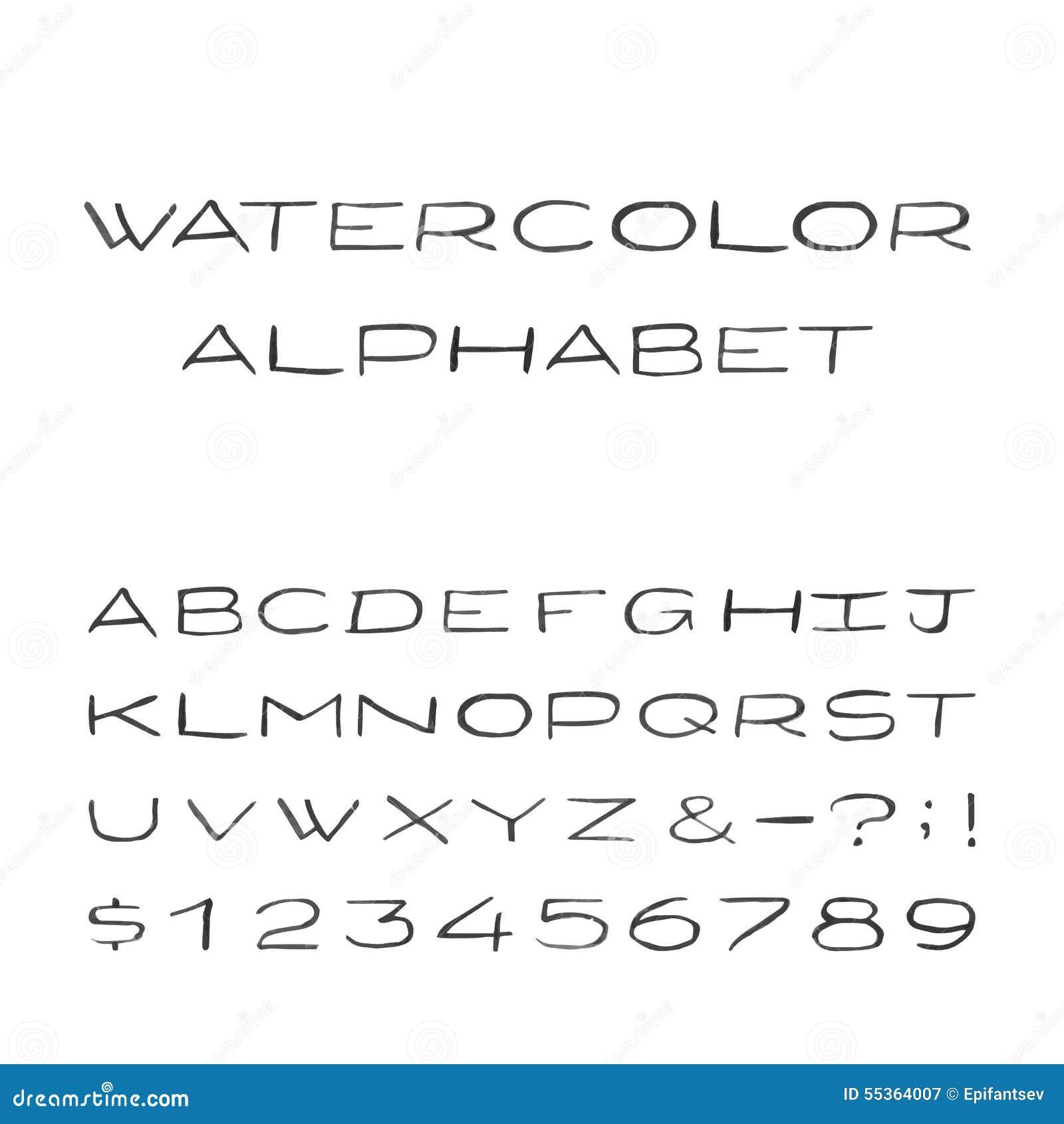 Alfabeto dell acquerello Fonte di vettore dipinta