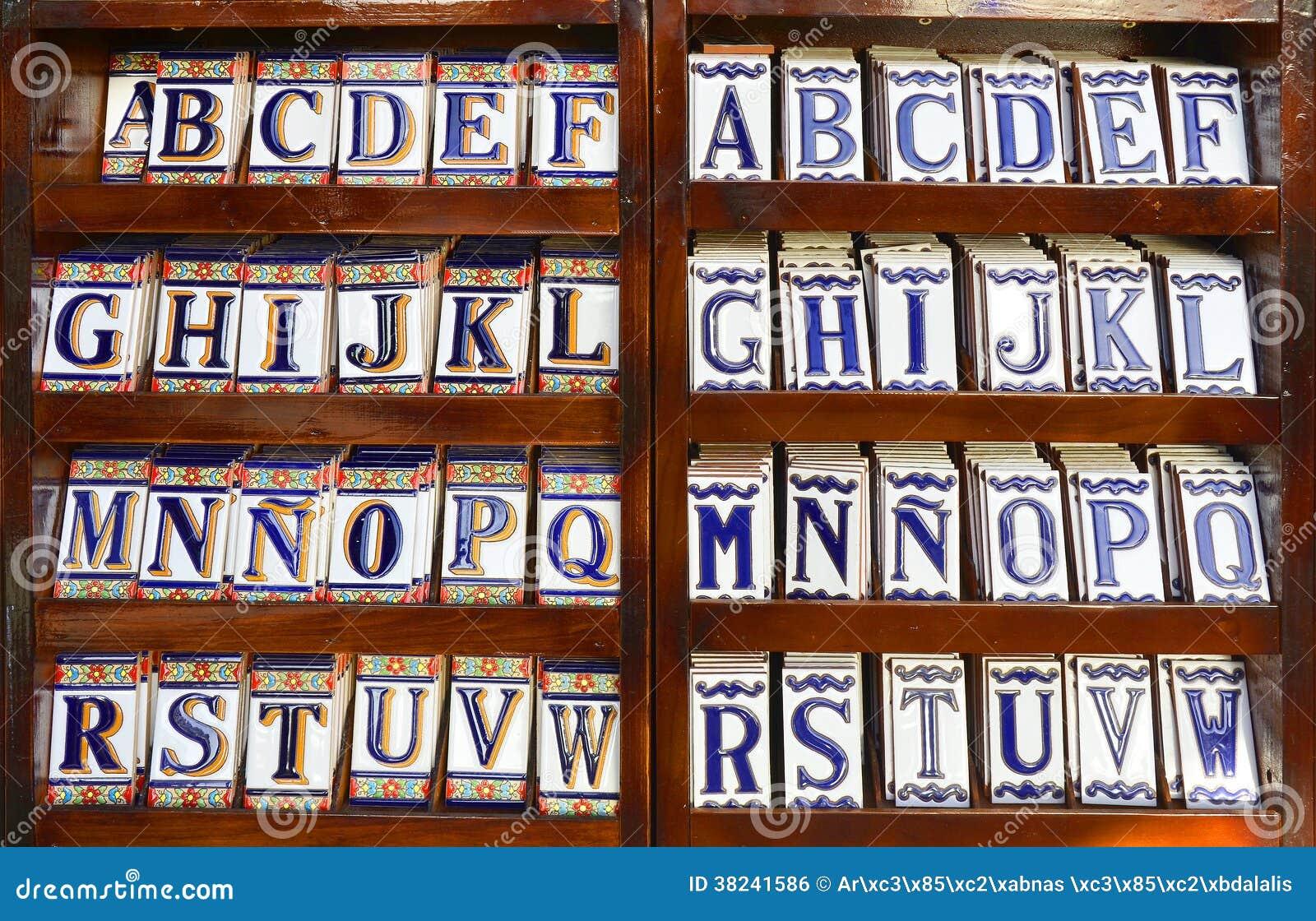 Alfabeto della piastrella di ceramica fotografia stock immagine