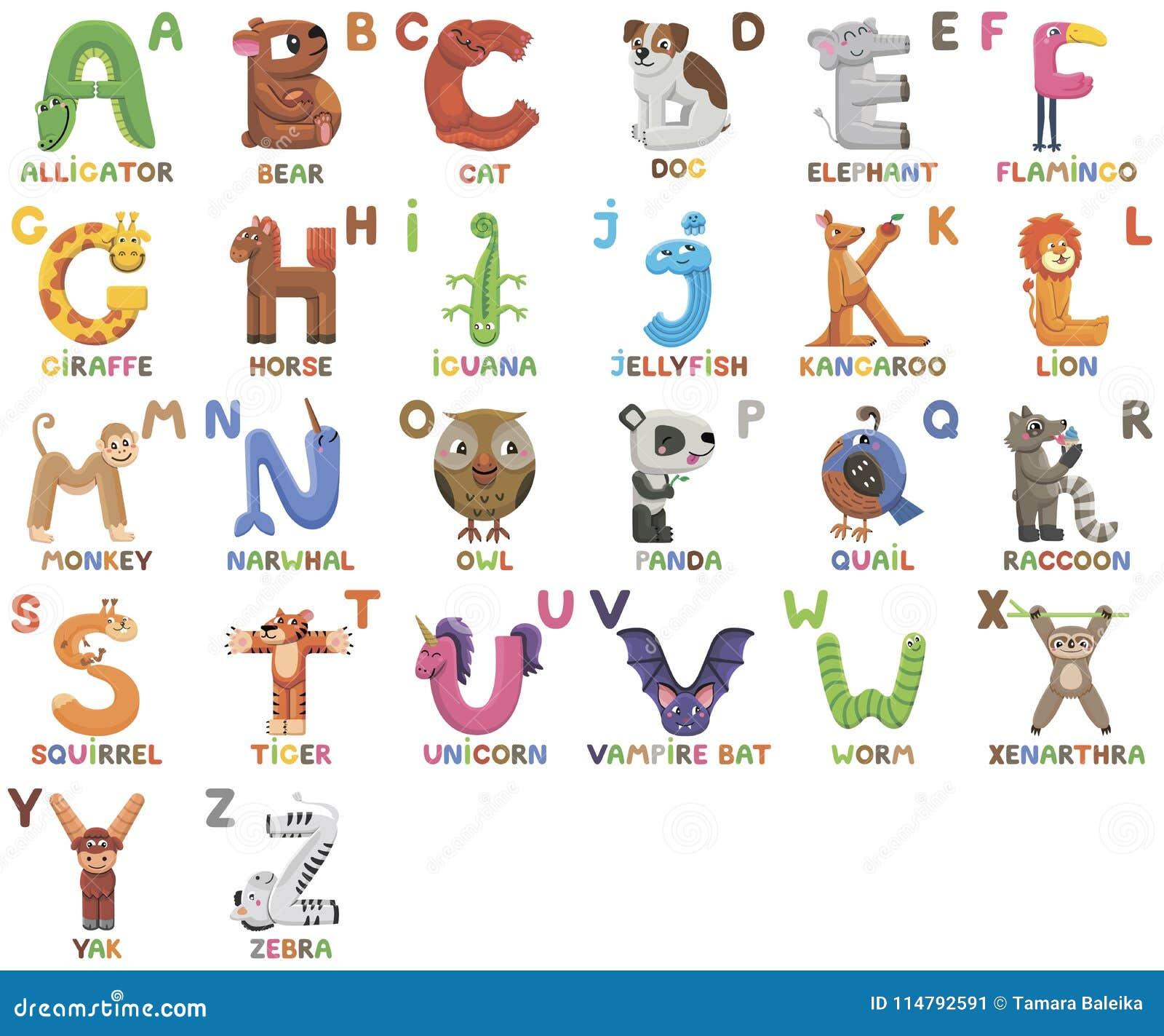 Alfabeto dello zoo alfabeto animale lettere da a alla z - Immagini di animali dello zoo per bambini ...