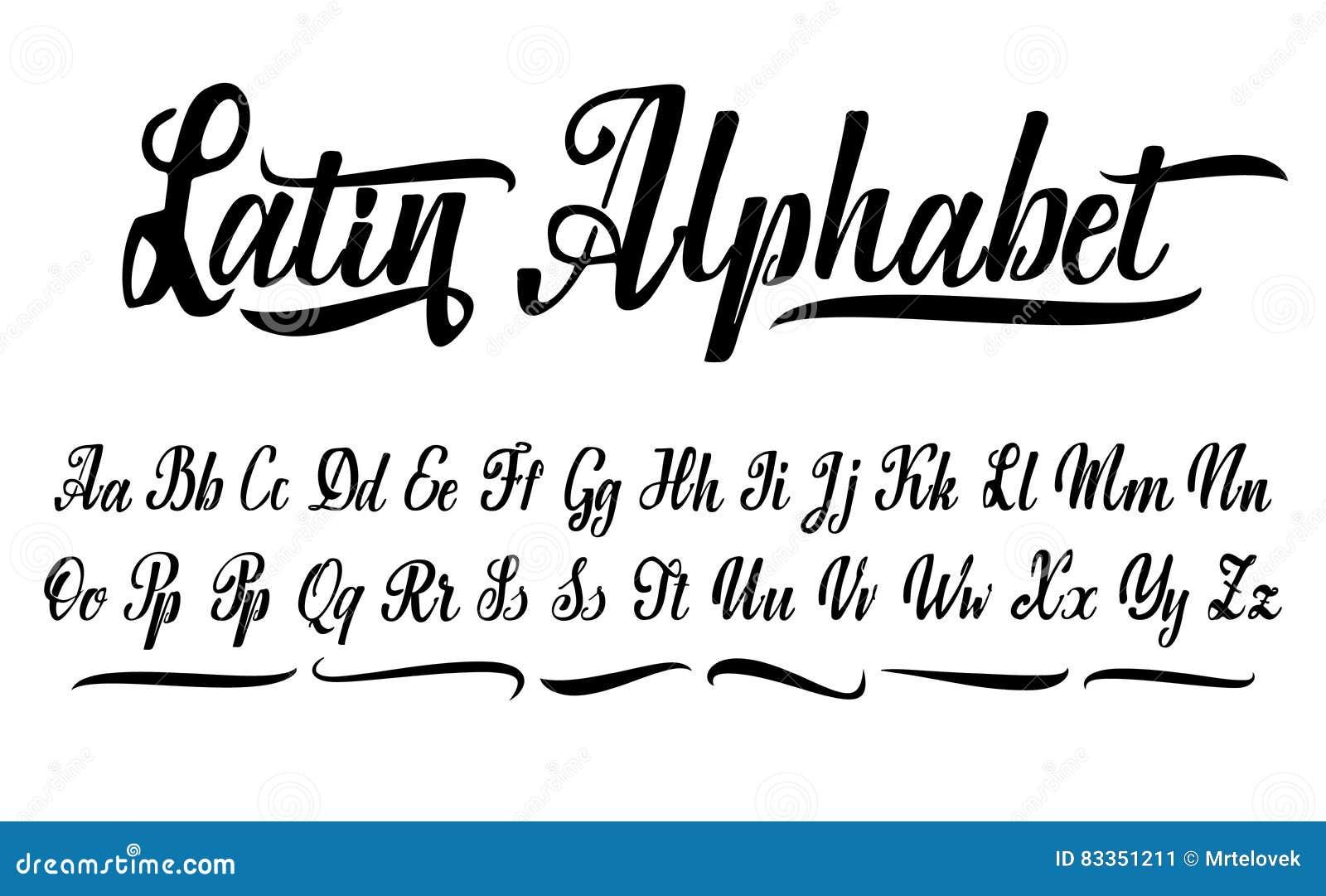 Famoso Alfabeto Di Vettore Fonte Calligrafica Caratteri Su Ordinazione  YG24