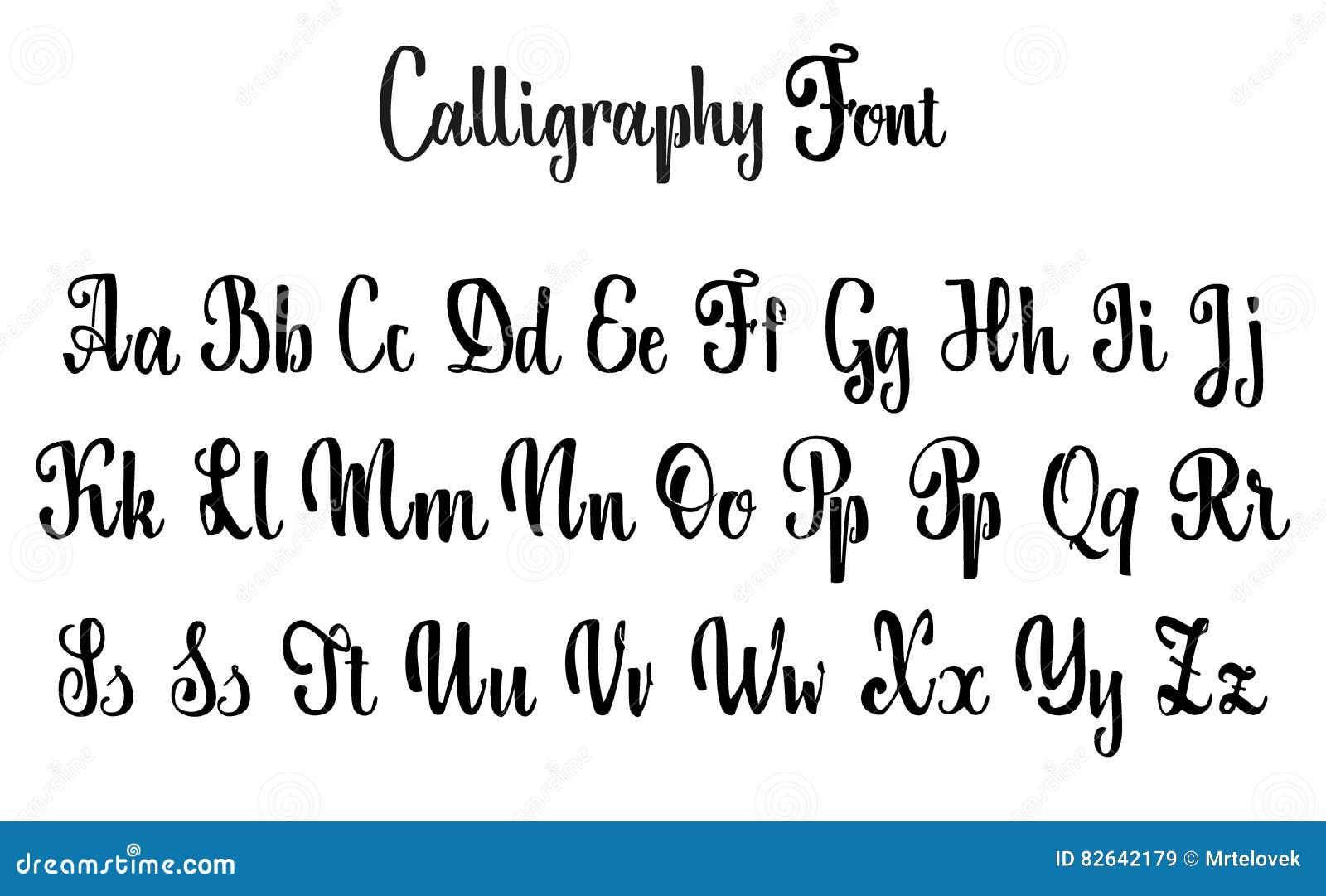 Alfabeto di vettore fonte calligrafica caratteri su - Due caratteri diversi ...