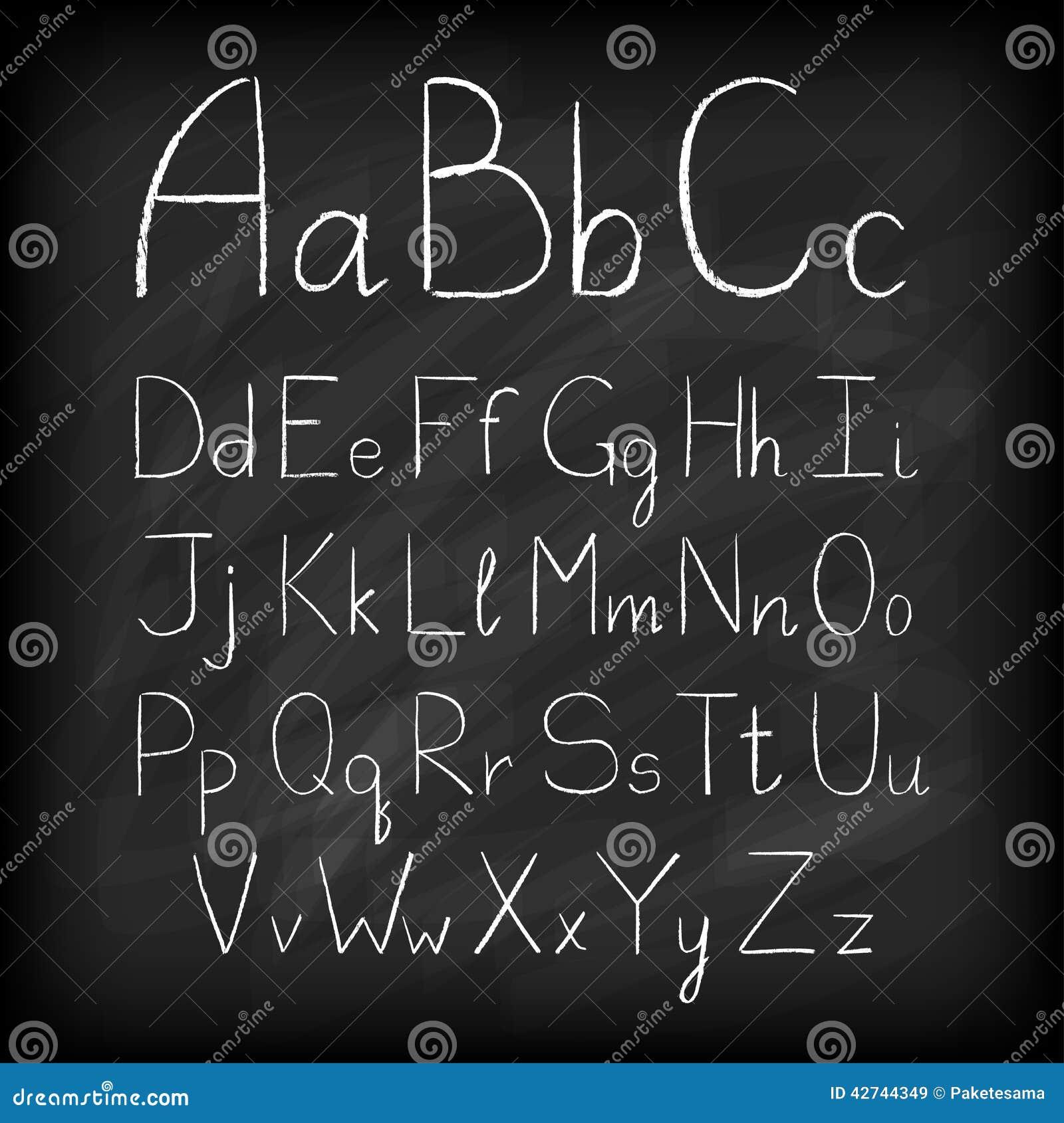 Alfabeto dibujado mano del tablero de tiza
