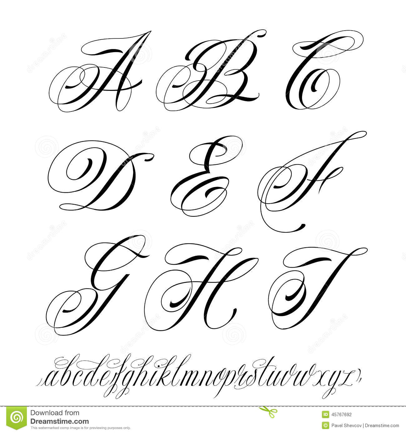 Ilustra%C3%A7%C3%A3o Stock Alfabeto Do Estilo Da Tatuagem Image45767692 on Handwriting Cursive