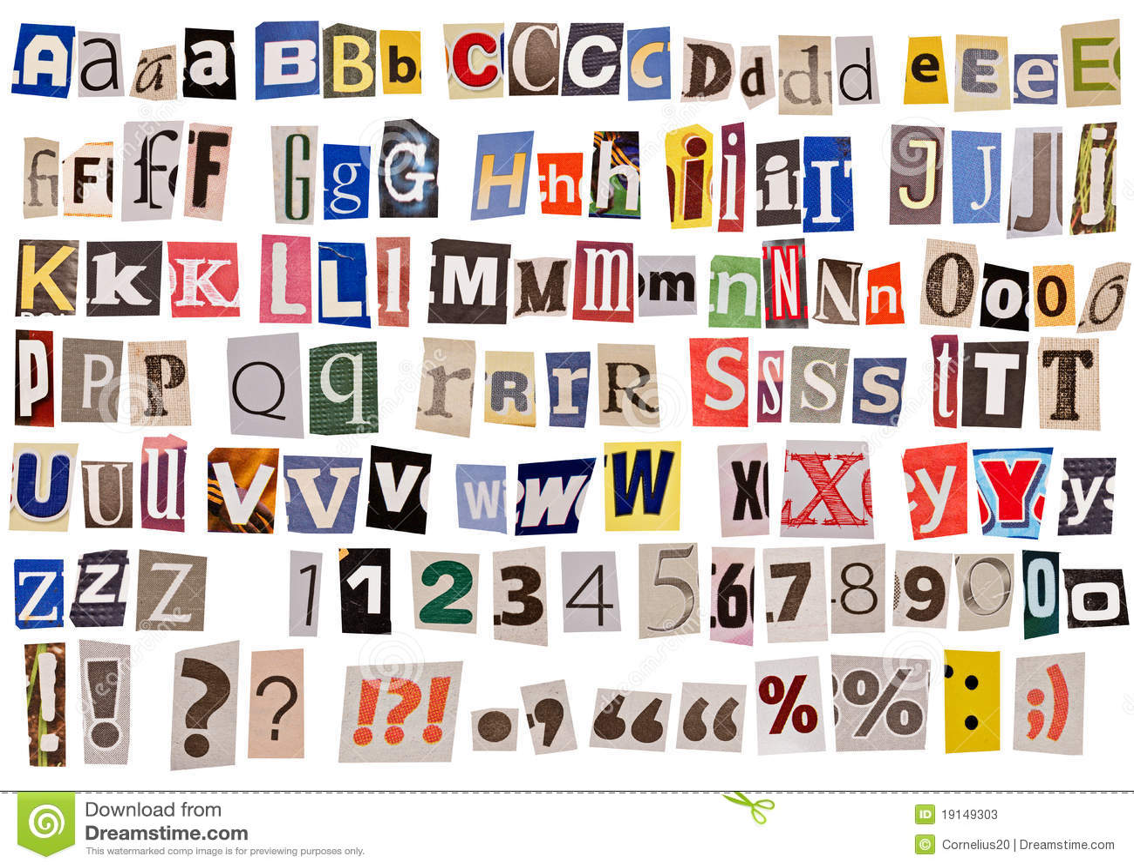 Alfabeto do jornal isolado