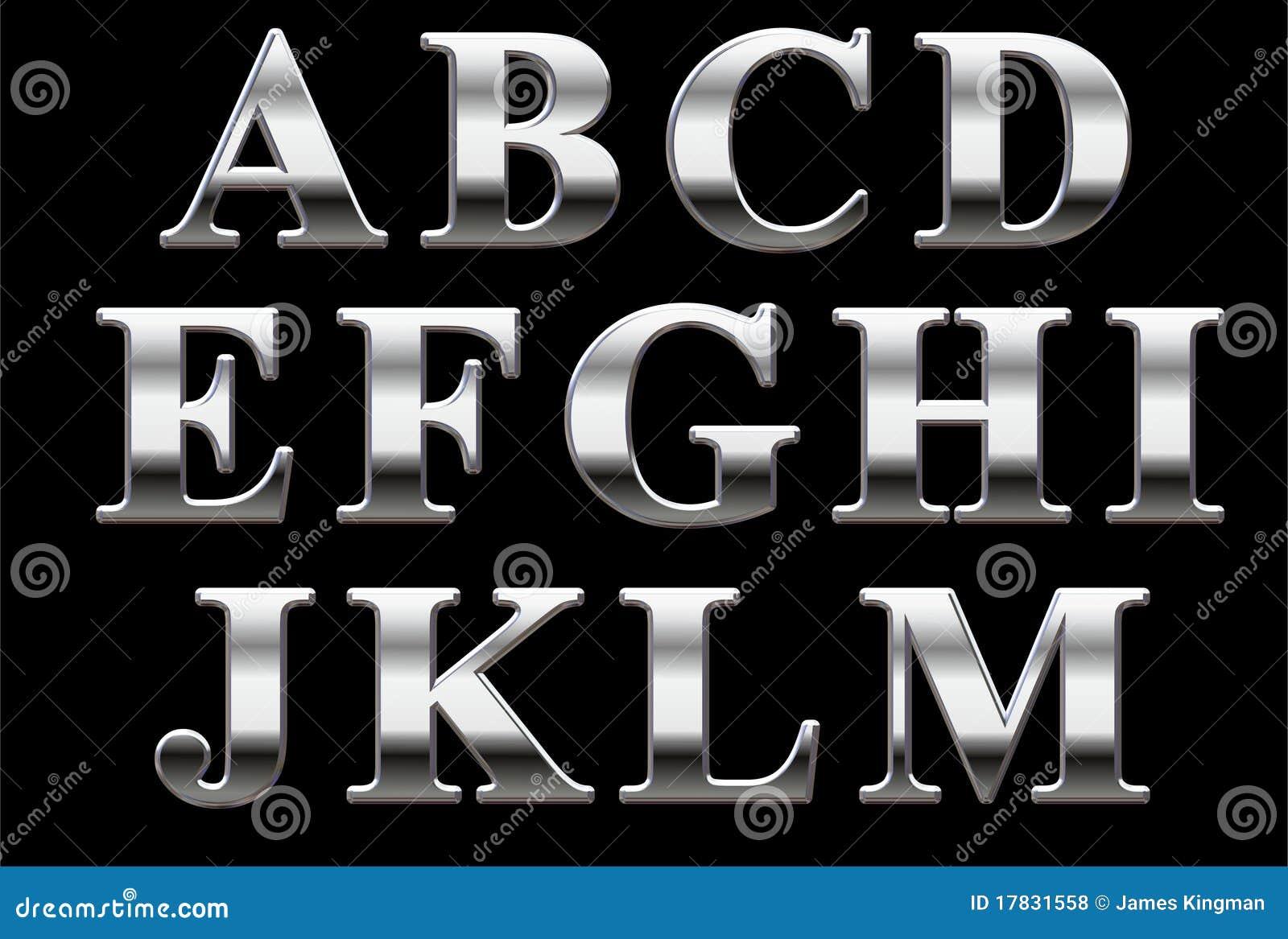 Alfabeto do Serif do cromo