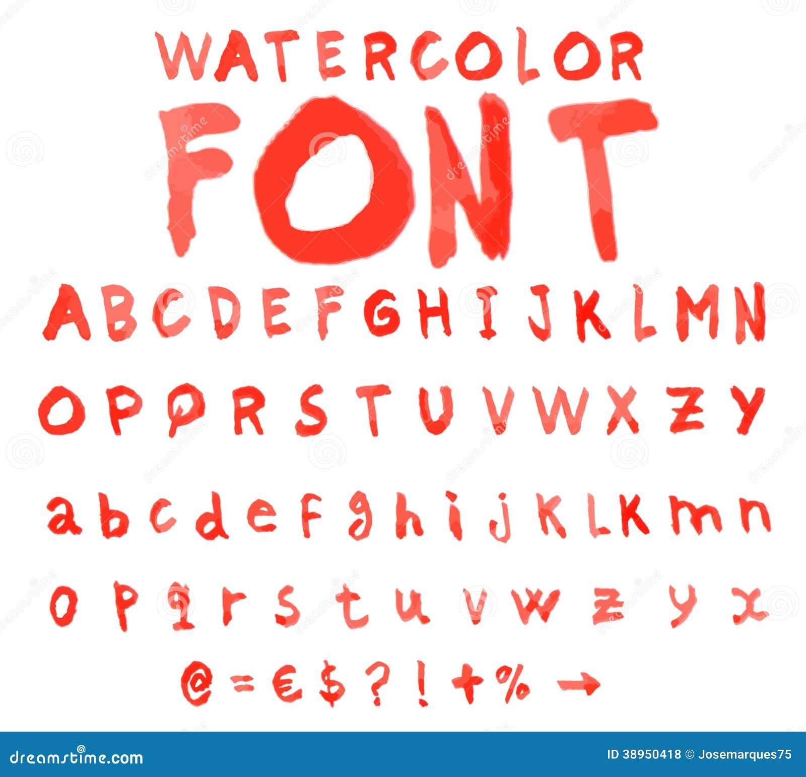 Alfabeto do vetor com fonte da aquarela ilustração