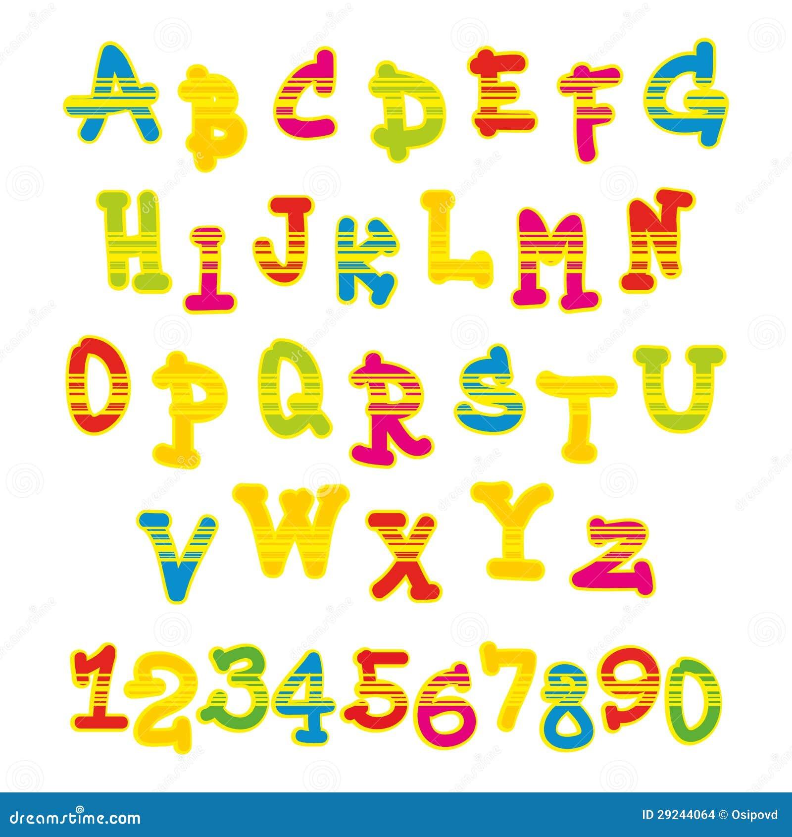Download Alfabeto E Números Brilhantes Do Vetor Ilustração do Vetor - Ilustração de colorido, projeto: 29244064