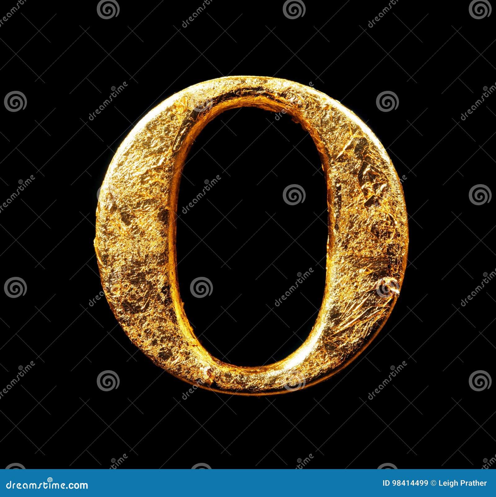 Alfabeto e numeri in foglia di oro
