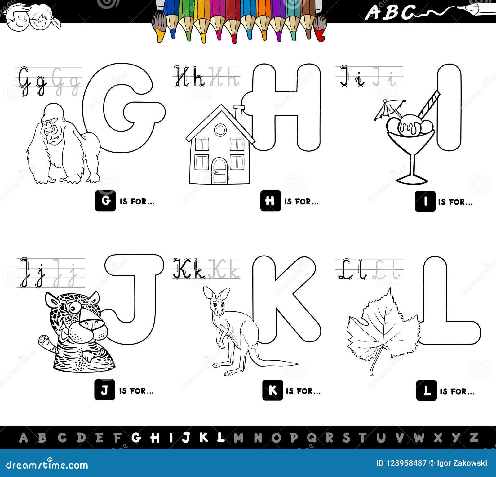 Alfabeto educativo de la historieta para el libro del color de los niños