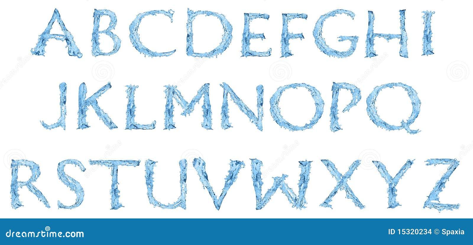 Alfabeto feito da água congelada