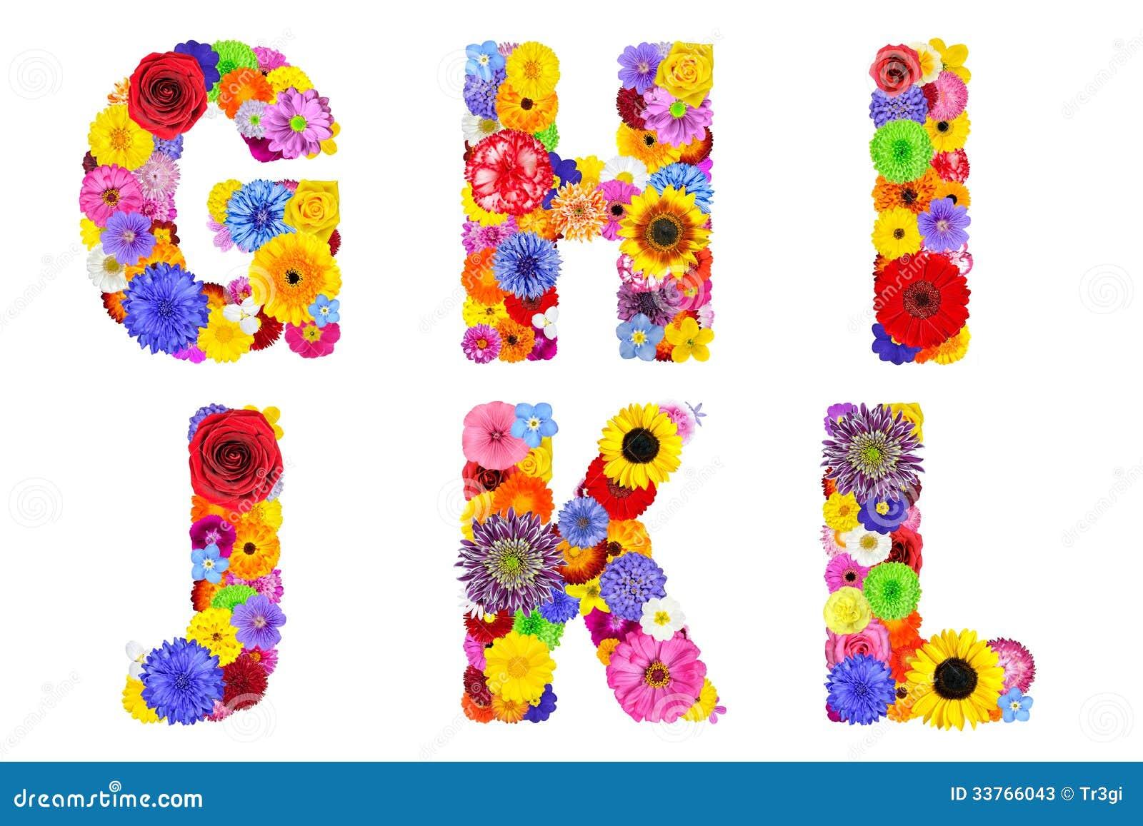 Alfabeto floral aislado en el blanco letras g h i j - Lettres alphabet originales ...