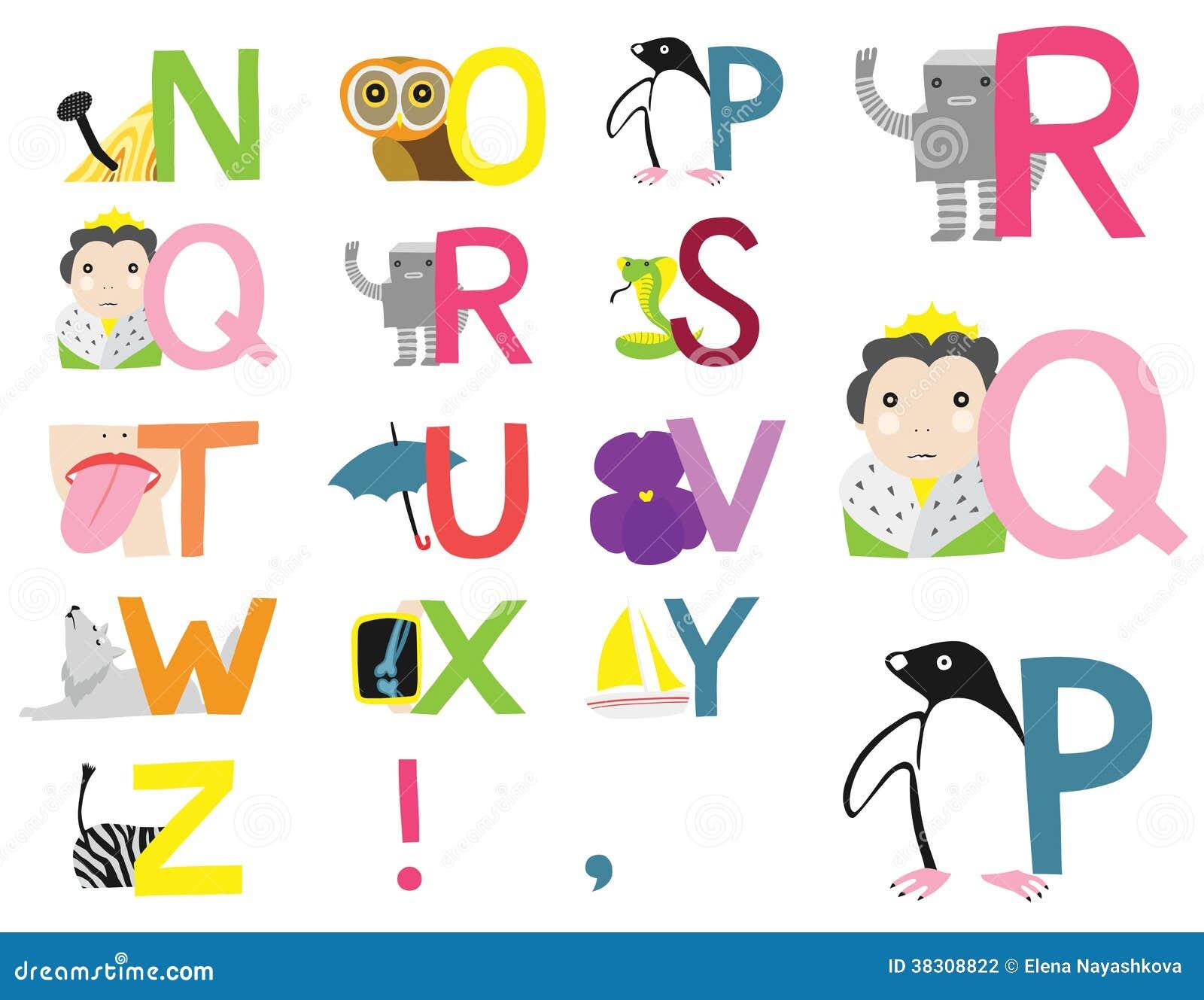 Alfabeto Ilustrado N Z Ilustra O Stock Ilustra O De Pouco 38308822 -> Desenhos Para Alfabeto Ilustrado